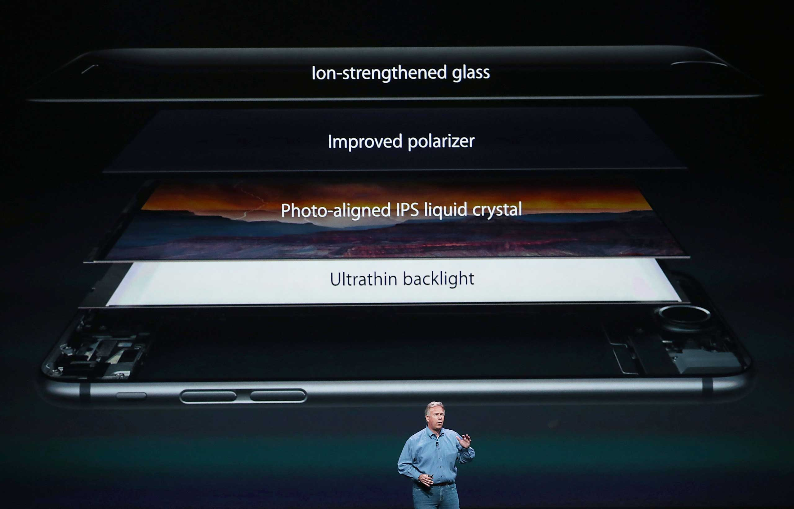 Apple Senior Vice President of Worldwide Marketing Phil Schiller announces the new iPhone 6 during an Apple special event at the Flint Center for the Performing Arts on September 9, 2014 in Cupertino, California.