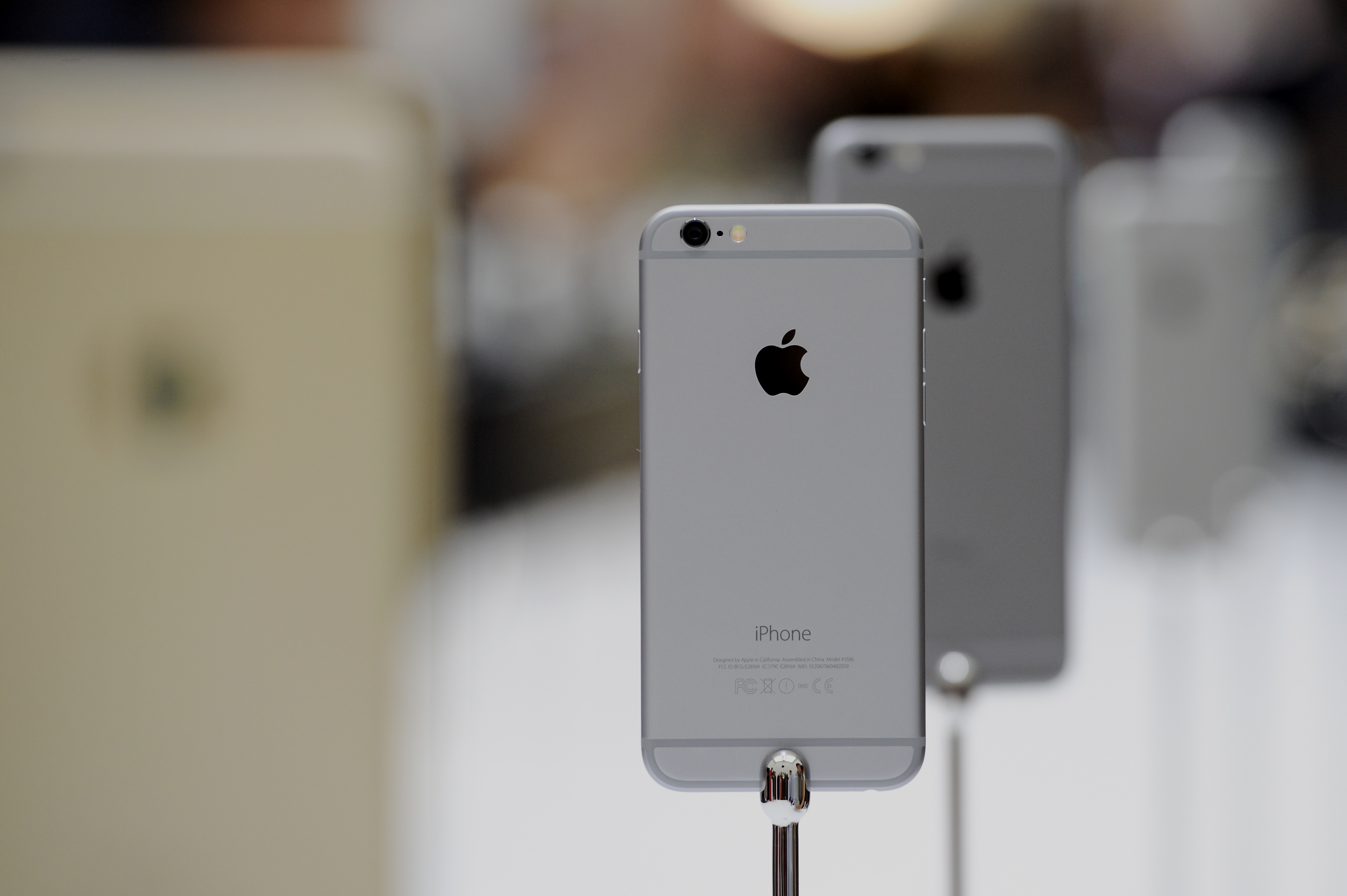 The new Apple Inc. iPhone 6 is displayed after a product announcement at Flint Center in Cupertino, Calif., Sept. 9, 2014.