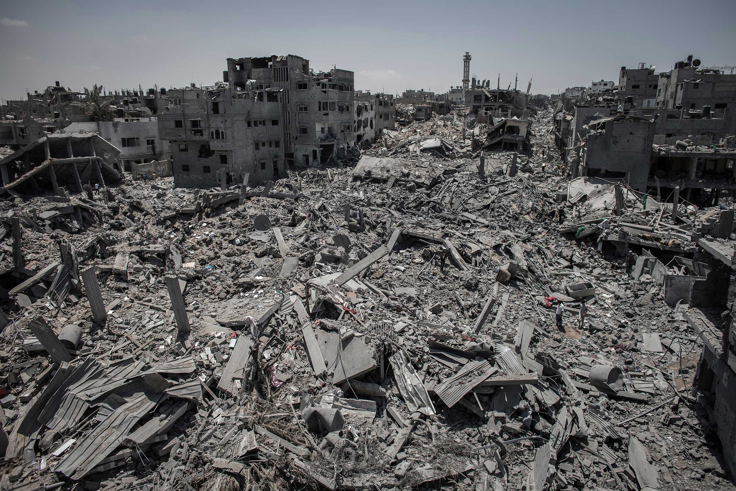 A general view of destroyed buildings after Israeli attacks in a part of Shejaiya, in east Gaza City, July 26, 2014.