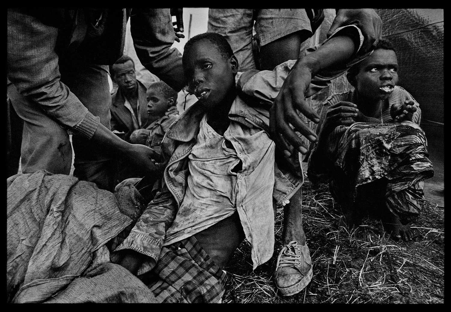 Refugees who had just been hit with cholera were brought to one of the emergency medical stations in Zaire, 1994.