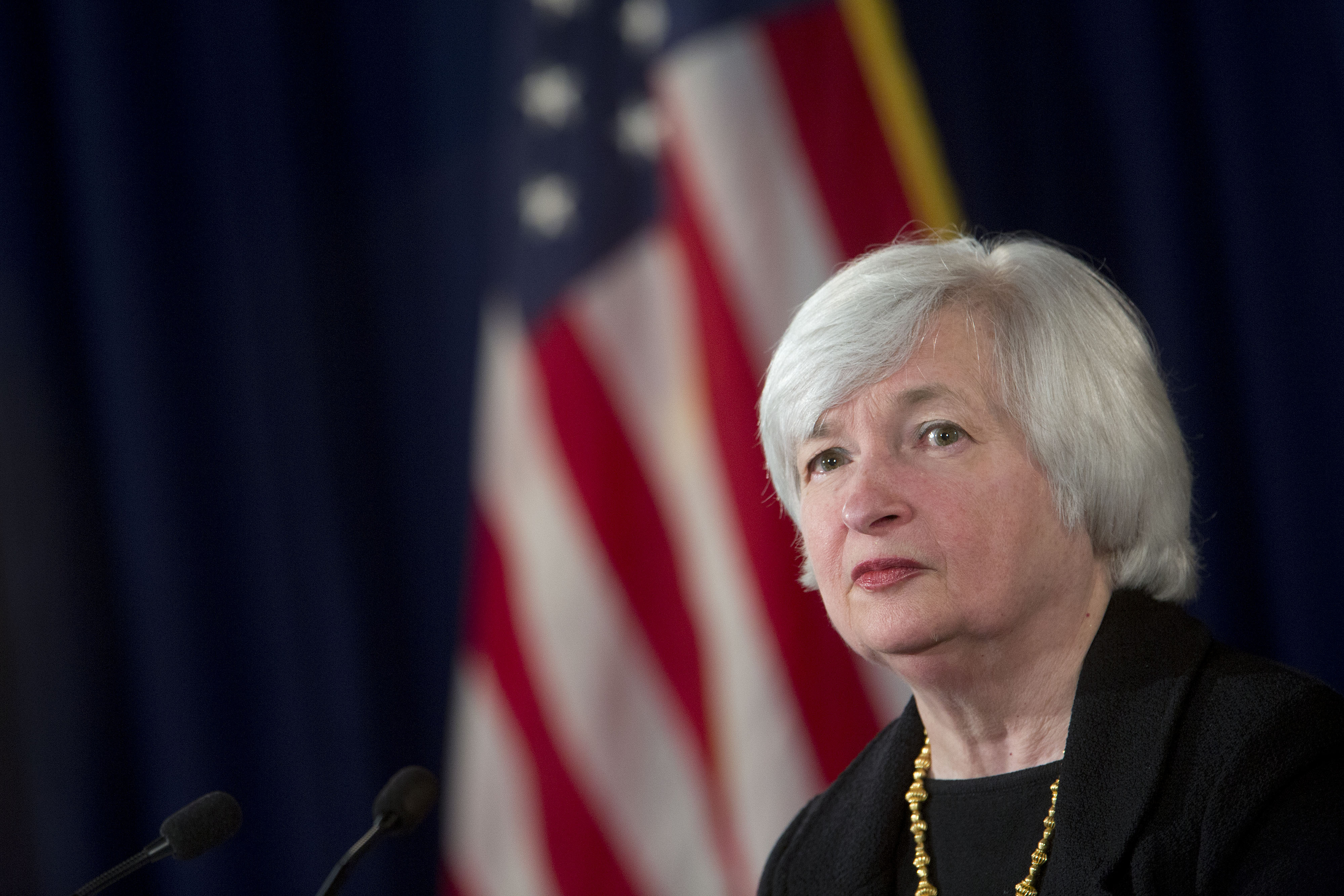 Janet Yellen, chair of the U.S. Federal Reserve, listens to a question during a news conference following a Federal Open Market Committee (FOMC) meeting in Washington on Sept. 17, 2014.