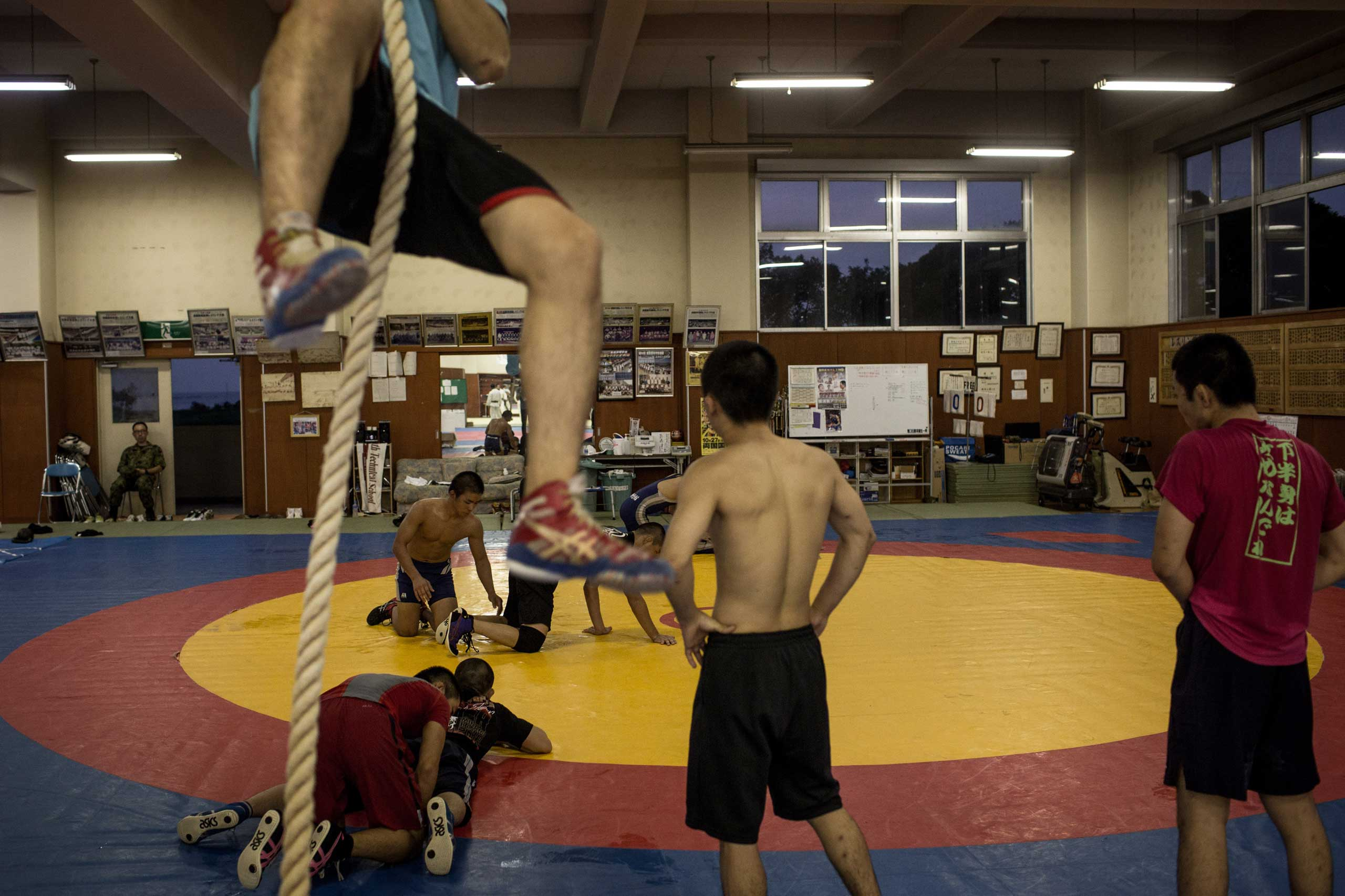 Students take part in wrestling classes.