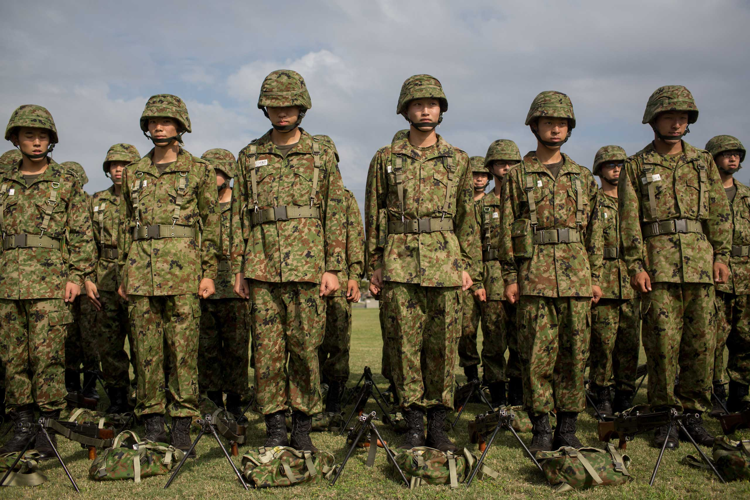 Students listen to instructions during rifle training at the Japan Ground Self-Defense Force High Technical School on Sept. 17, 2014 in Yokosuka, Japan.