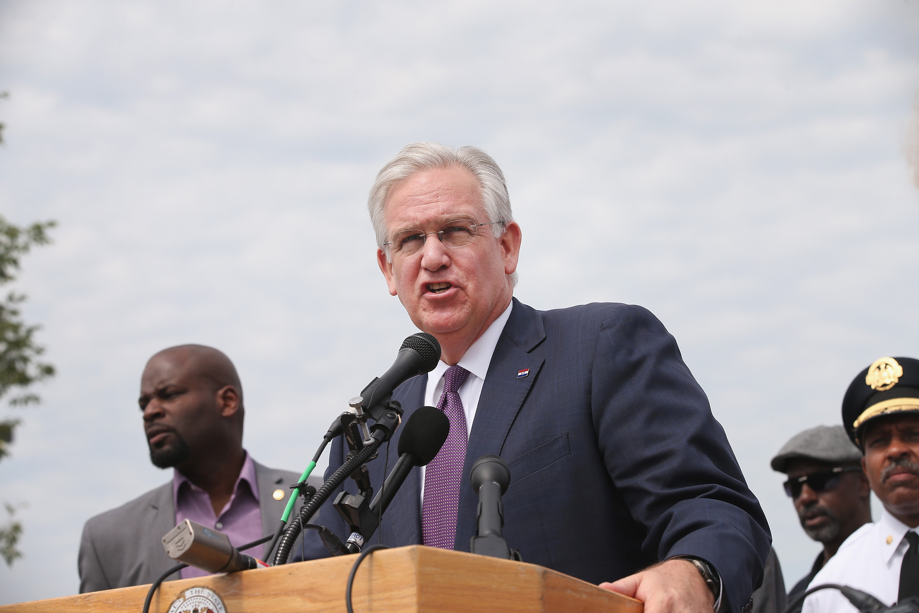 Governor Jay Nixon of Missouri speaks to the media on Aug. 15, 2014 in St. Louis, Missouri.