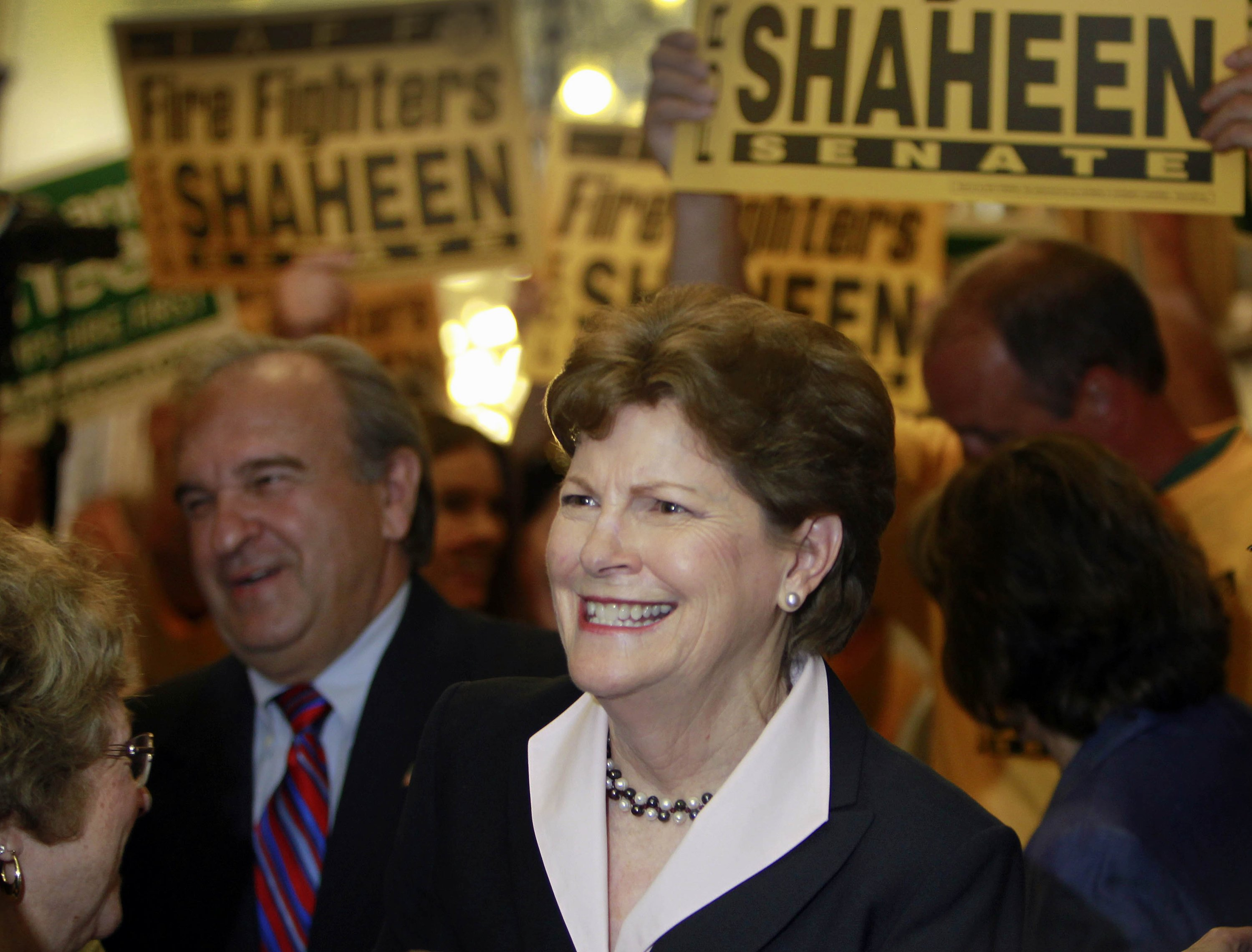 Sen. Jeanne Shaheen D-N.H. is surrounded by supporters  to file her campaign paperwork to seek re-election on June 9, 2014 in Concord, N.H.