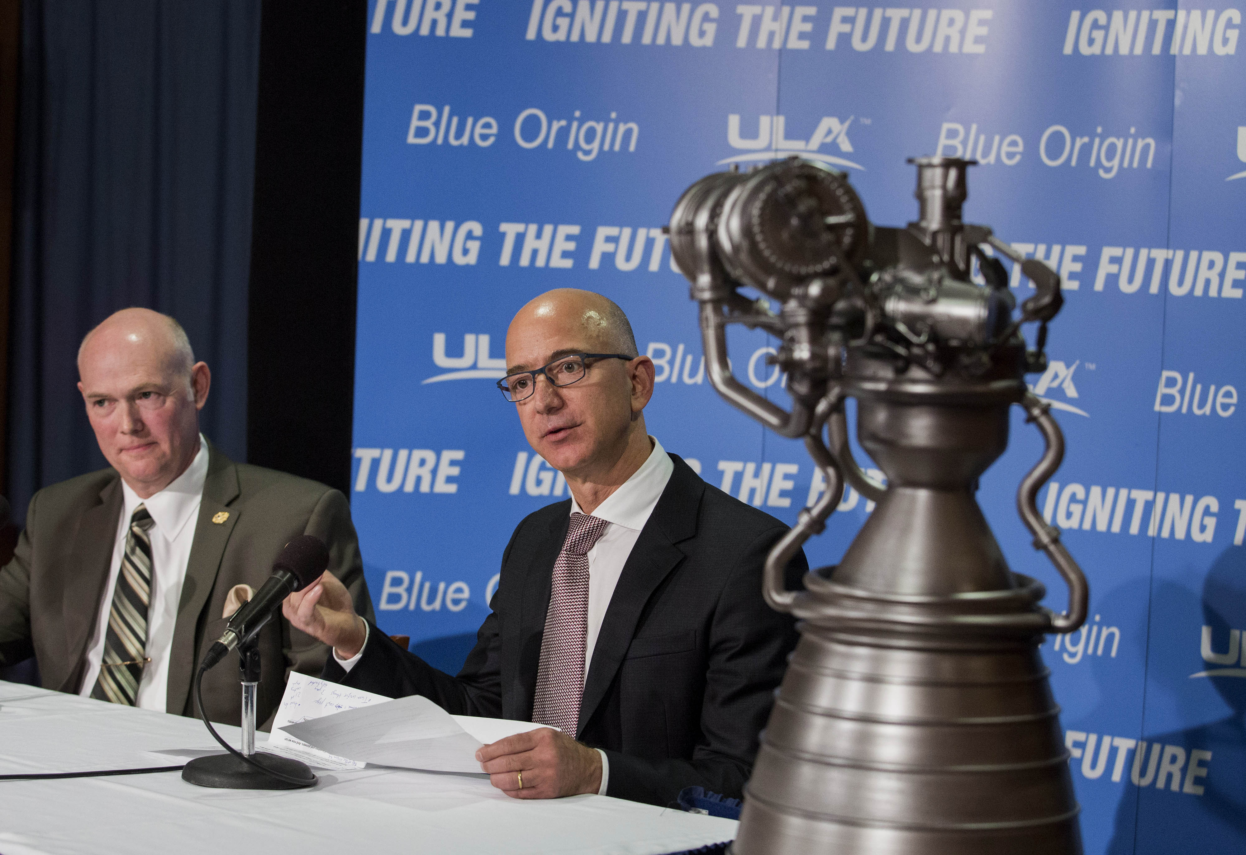 Lost in space? Bezos (right) and ULA chief Tory Bruno show off the goods on Sept. 17, 2014 in Washington.