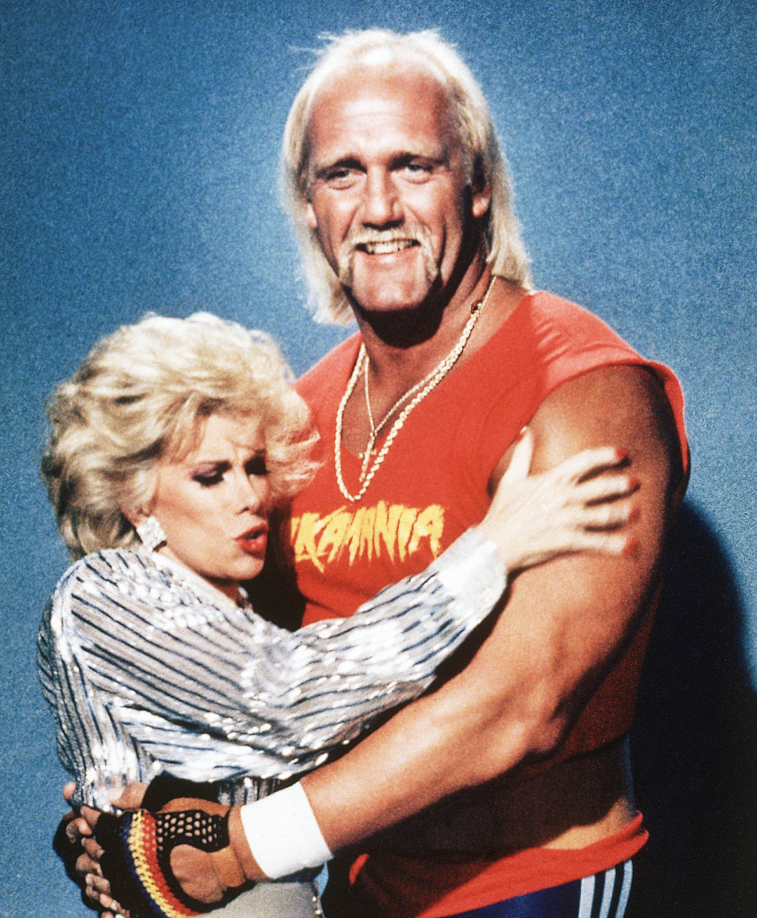 "Rivers, pictured in 1985 with star wrestler Hulk Hogan, became a regular guest host of the Tonight Show in the early 1980s and published ""The Life and Hard Times of Heidi Abramowitz,"" a best-seller, in 1984."