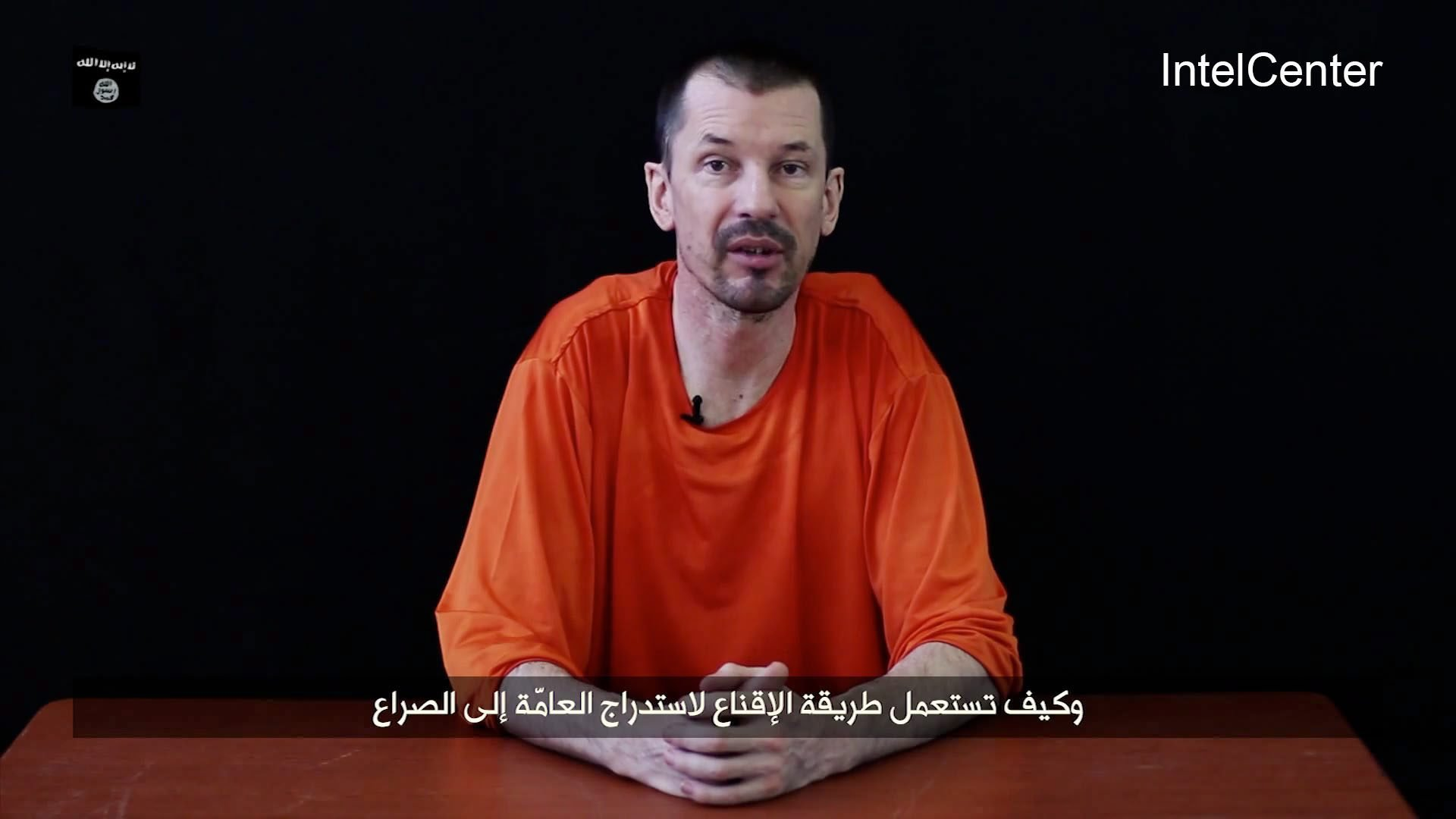 This still frame from a video released by ISIS on Sept. 23, 2014 shows British hostage John Cantlie who is currently being held hostage at an undisclosed location.