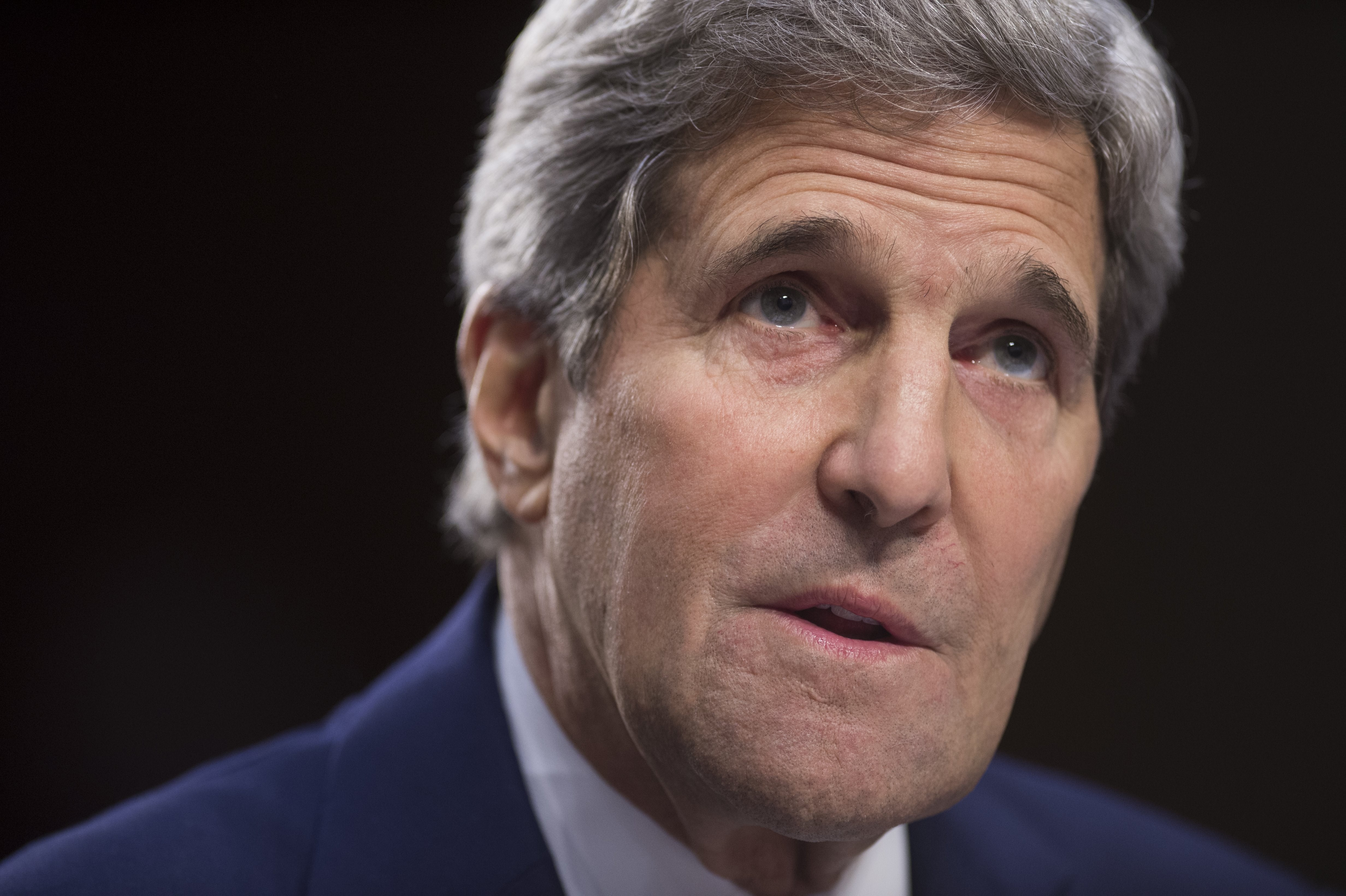 US Secretary of State John Kerry testifies about US policy towards Iraq and Syria and the threat posed by the Islamic State Group (IS) during a Senate Foreign Relations Committee hearing on Capitol Hill in Washington on Sept. 17, 2014.