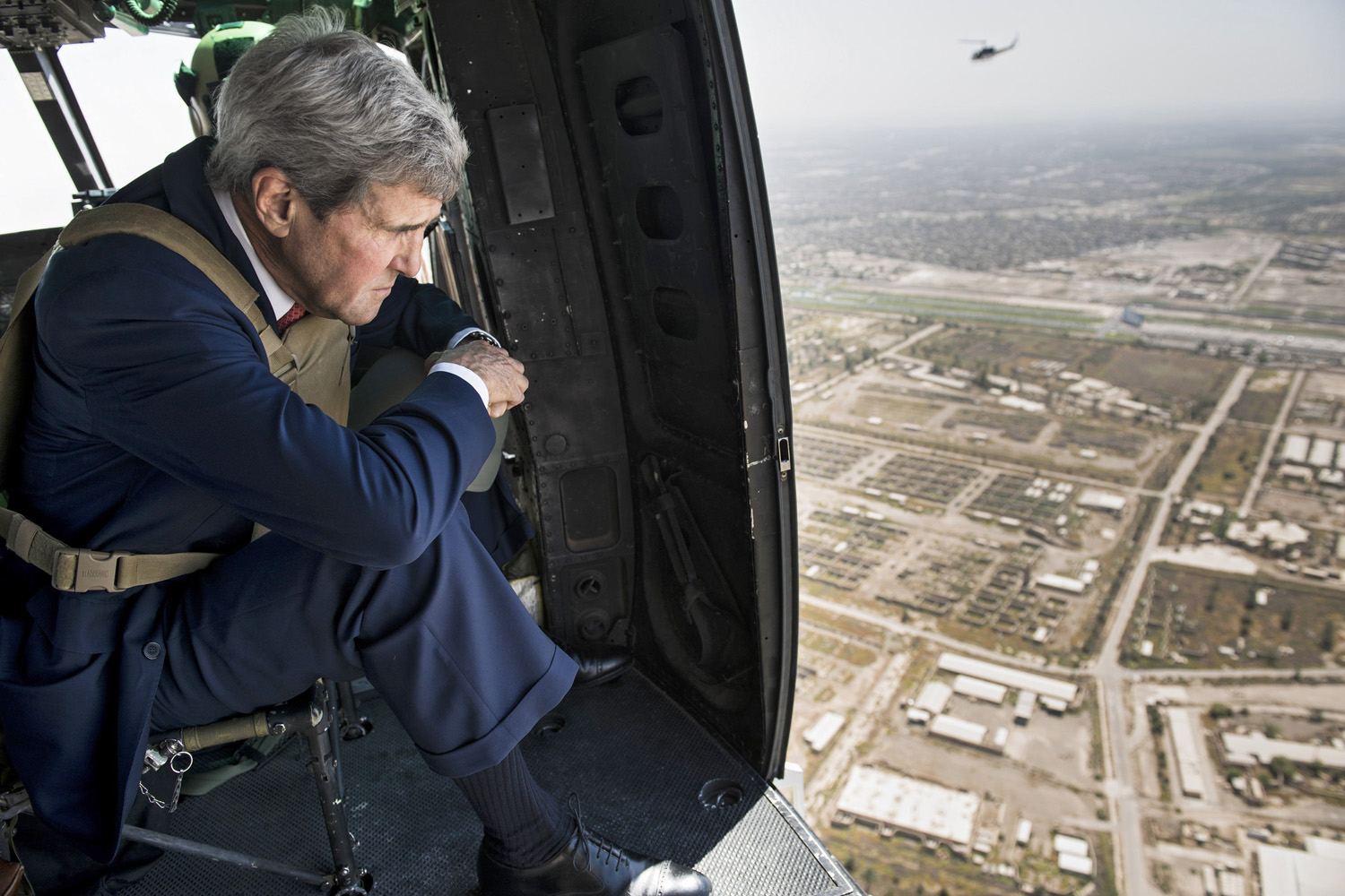 Secretary of State John Kerry looks out over Baghdad from a helicopter on September 10 during a visit to Iraq