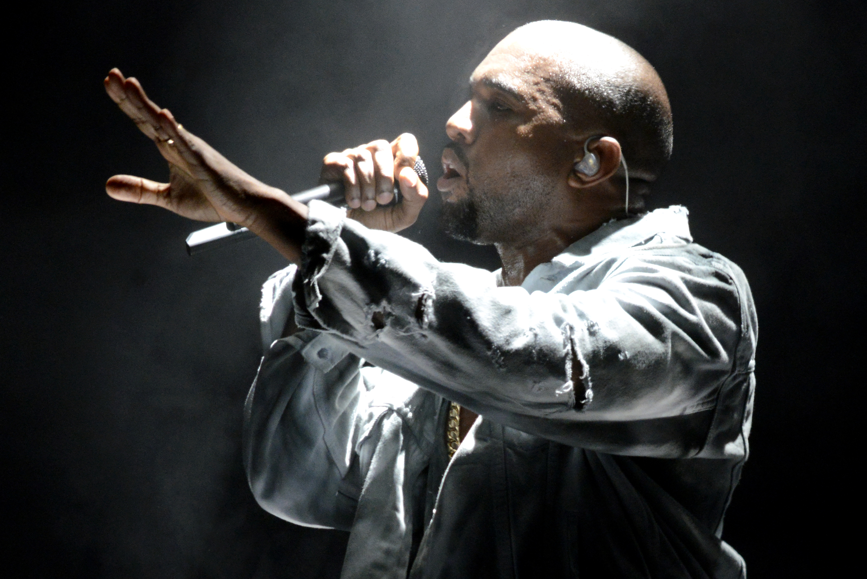 Kanye West performs during the Outside Lands Music and Arts Festival at Golden Gate Park on Aug. 8, 2014 in San Francisco.