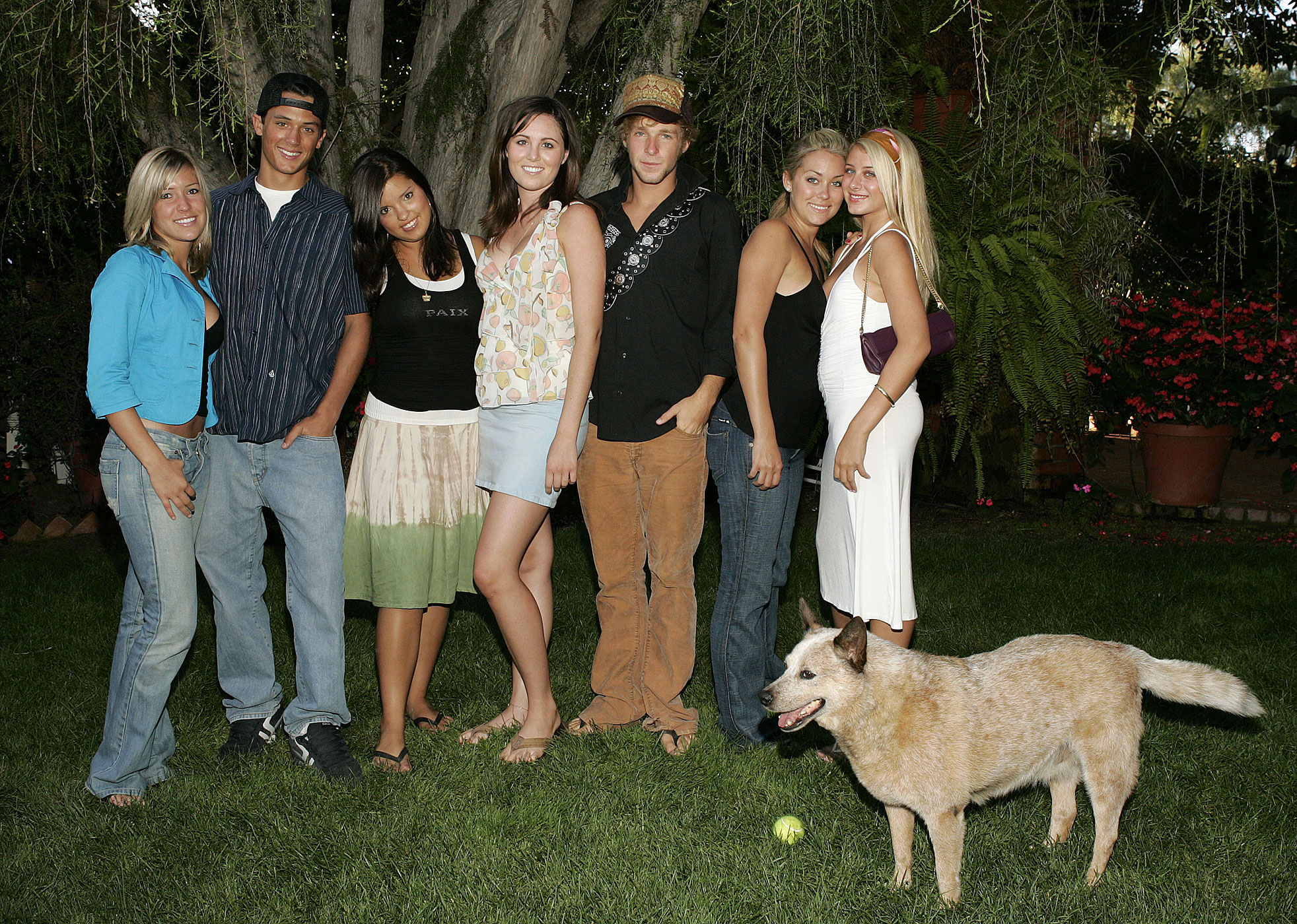 Kristin Cavallari, Stephen Colletti, Lauren Conrad and other cast members of MTV's Laguna Beach: The Real Orange County in July 2004.