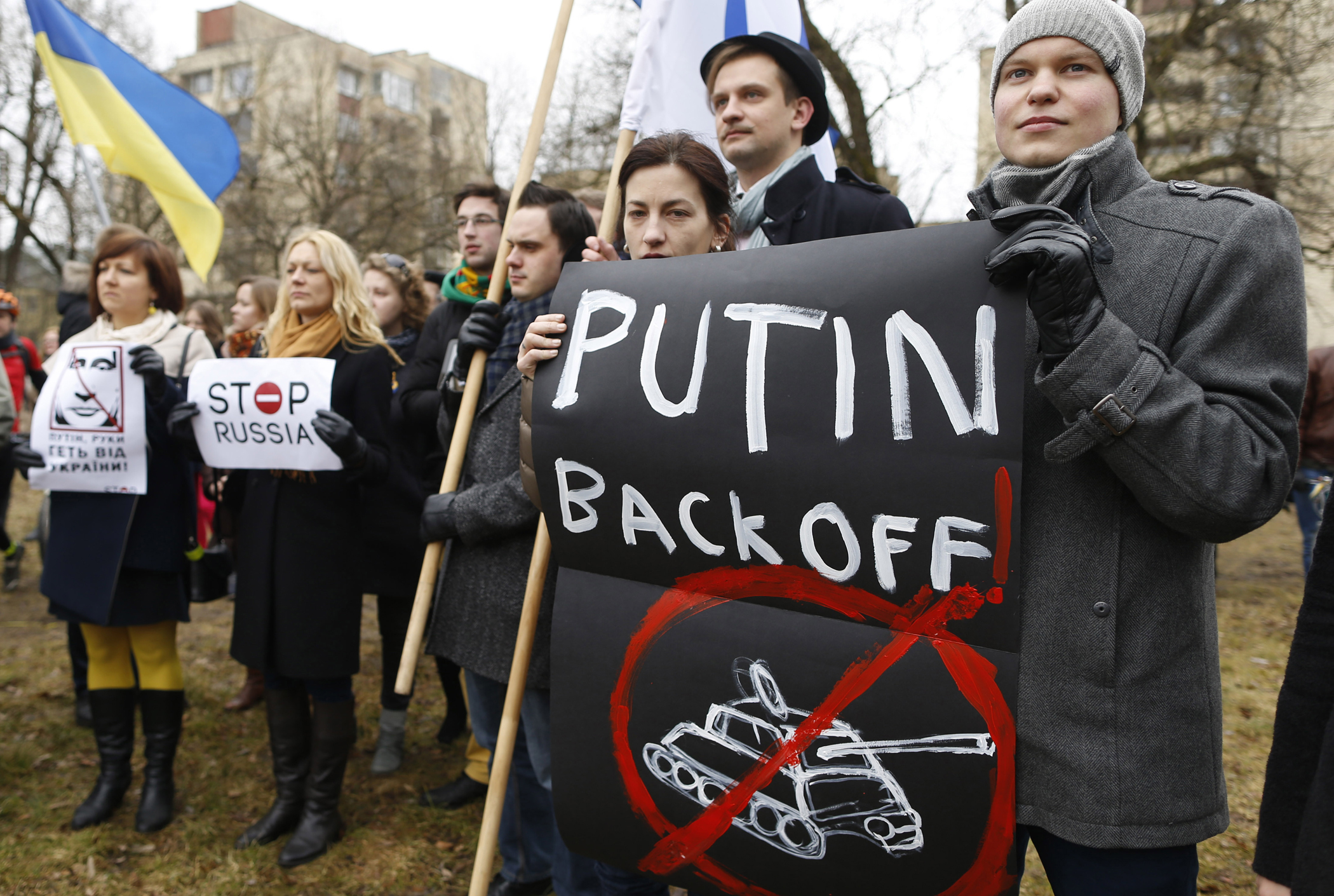 Demonstrators gather outside the Russian Embassy in Vilnius, Lithuania, to protest against Russian intervention in Ukraine, in March 2014.