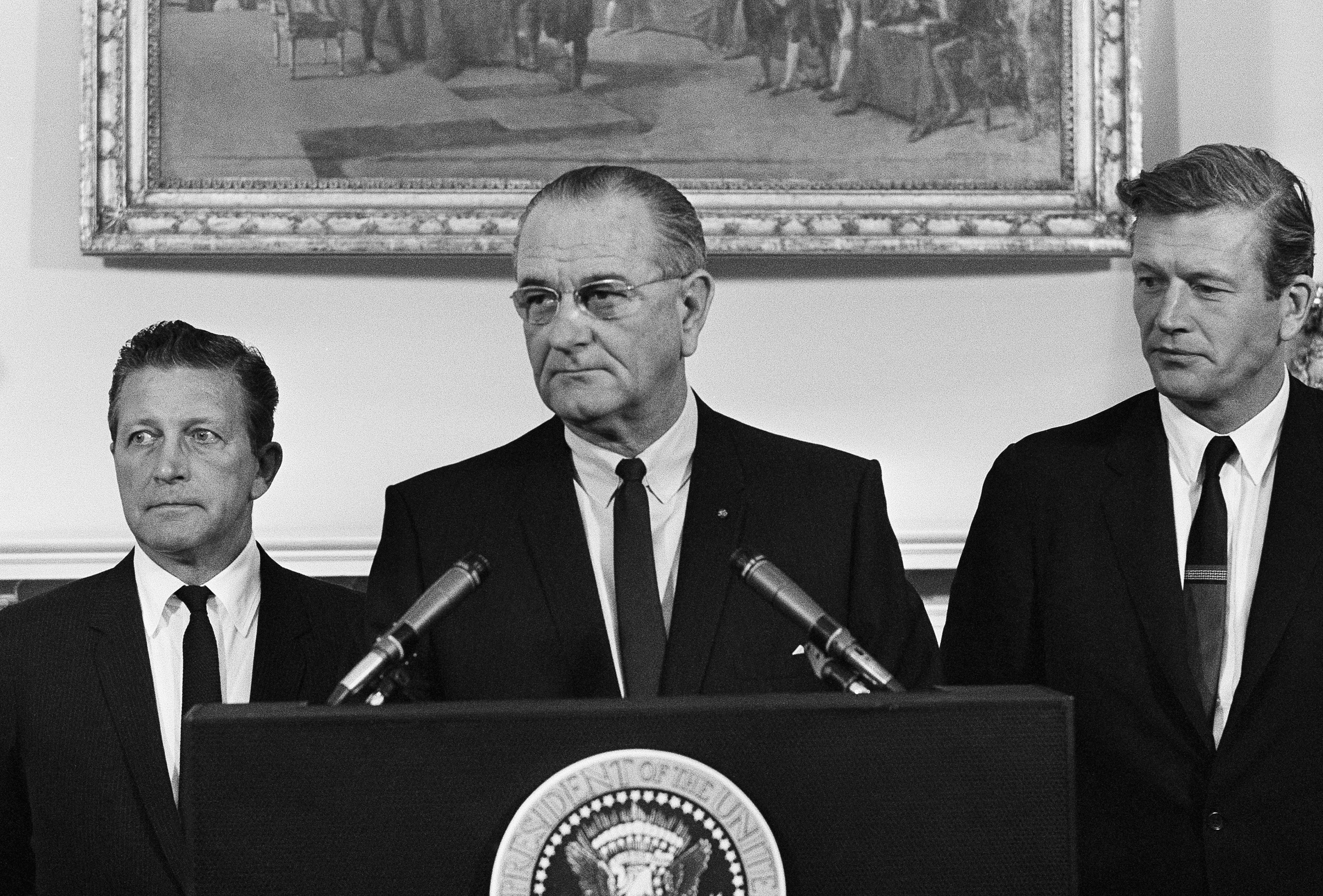President Lyndon Johnson speaks to members of his advisory commission on civil disorders at the group's first meeting on July 29, 1967 at the White House in Washington.