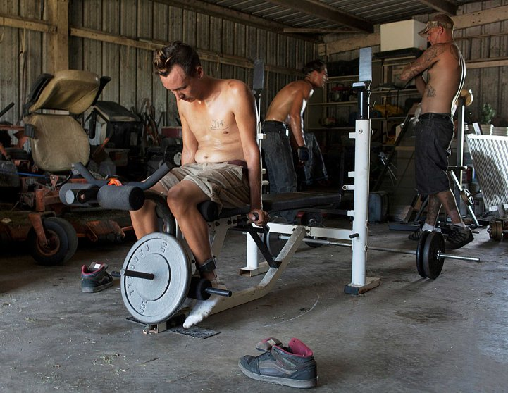 "Matt exercising in the back shed in the village with David and Lee.""Growing up with my mom was enough, I'm ready to move on. All I did was go to school and take care of the house. It was like living in boot camp. She was the one that called the cops on me in order to protect her job or so she said."""