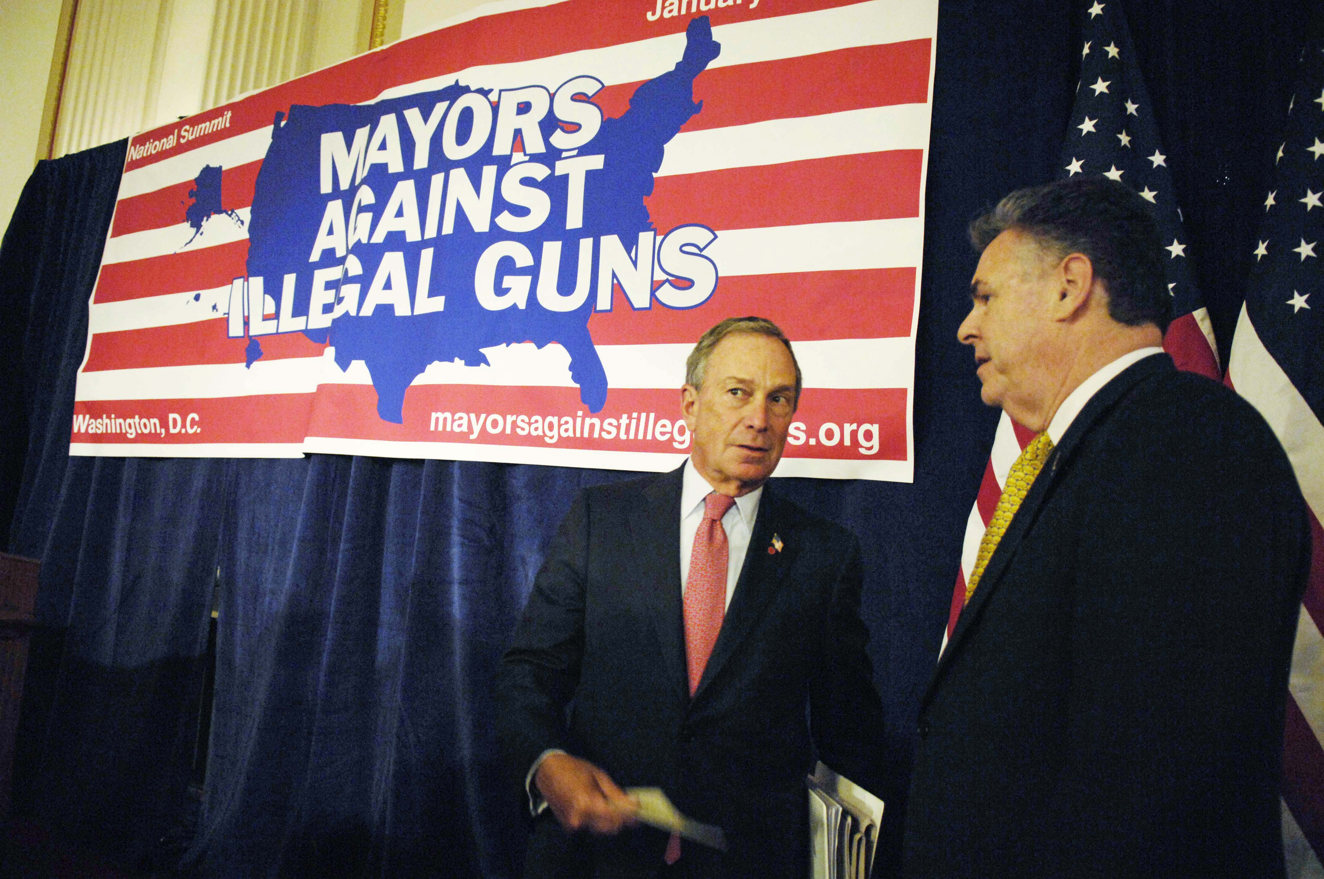 New York Mayor Michael Bloomberg with Rep. Peter T. King, R-N.Y. at a photo op in the Cannon House Office Building with mayors from around the country participating in the 2007 National Summit of Mayors Against Illegal Guns.