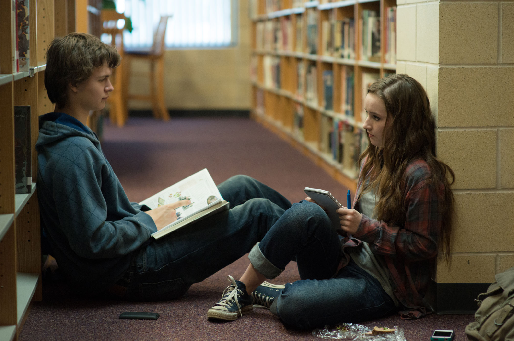 Ansel Elgort plays Tim Mooney and Kaitlyn Dever plays Brandy Beltmeyer in Men, Women & Children