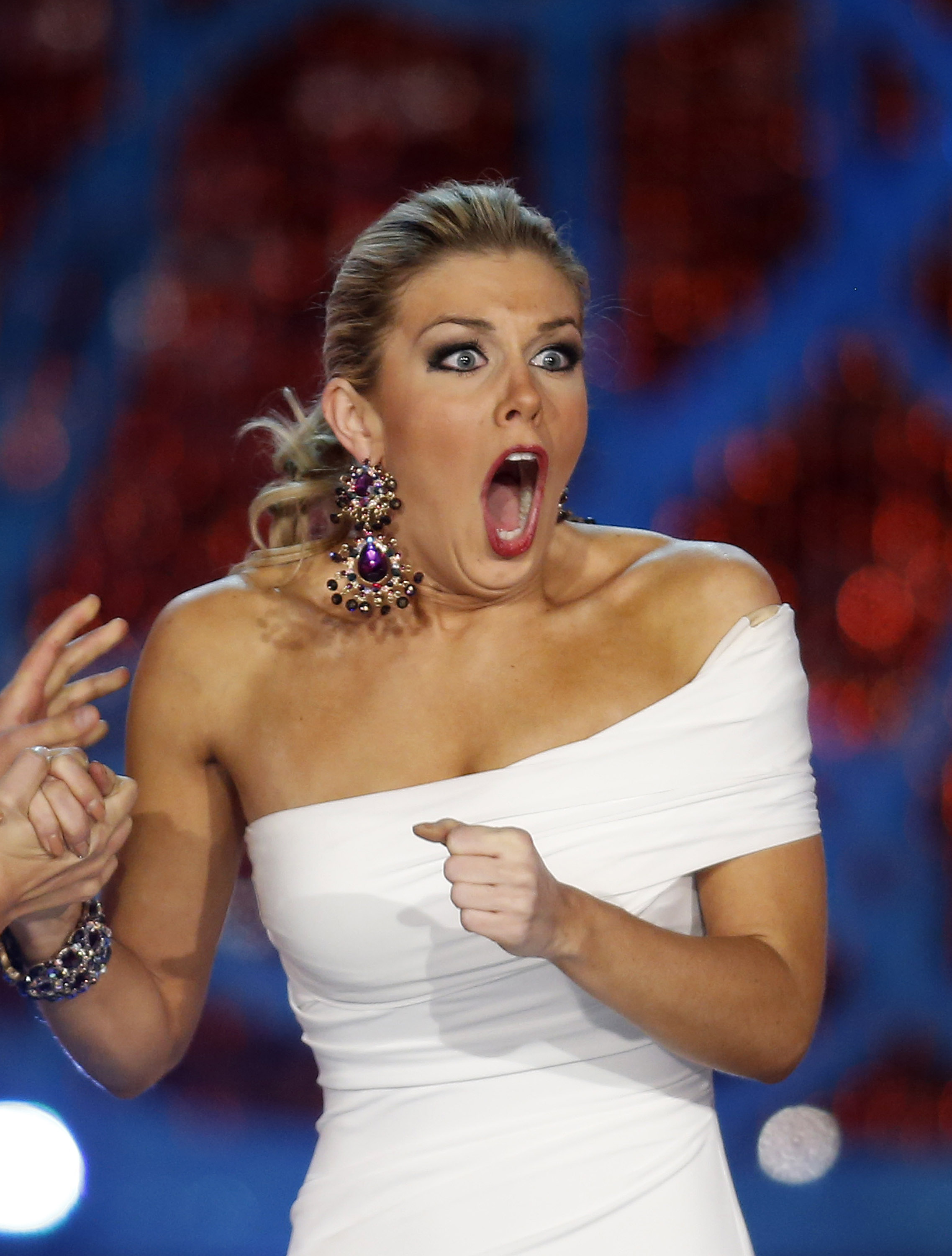 Miss New York Mallory Hytes Hagan reacts as she is announced Miss America 2013 on Saturday, Jan. 12, 2013, in Las Vegas.