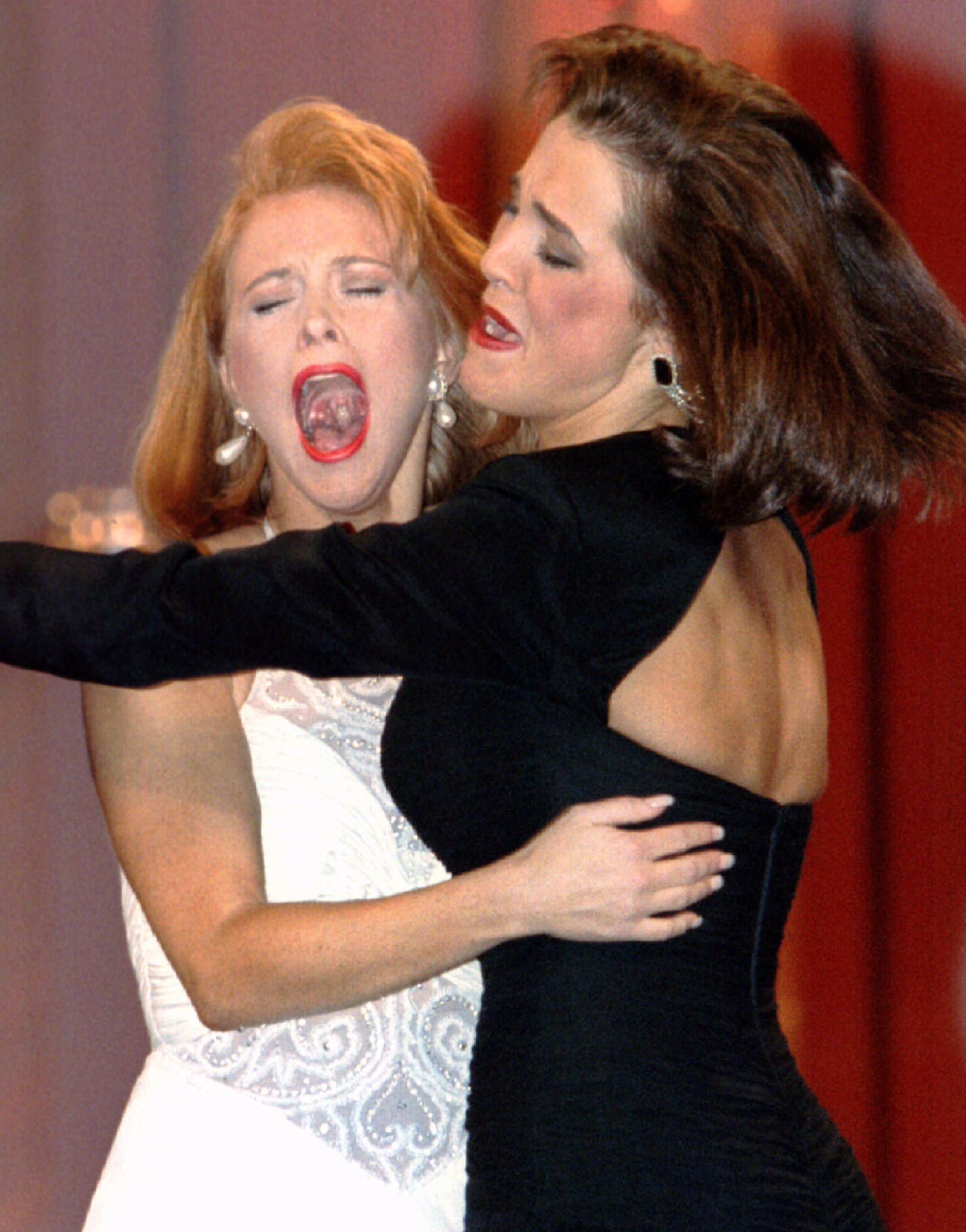 Shawntel Smith, Miss Oklahoma reacts as she is named Miss America 1996 as she hugs first runner  up Miss Oregon, Emily Orton, on Sept. 16, 1995 in Atlantic City N.J.