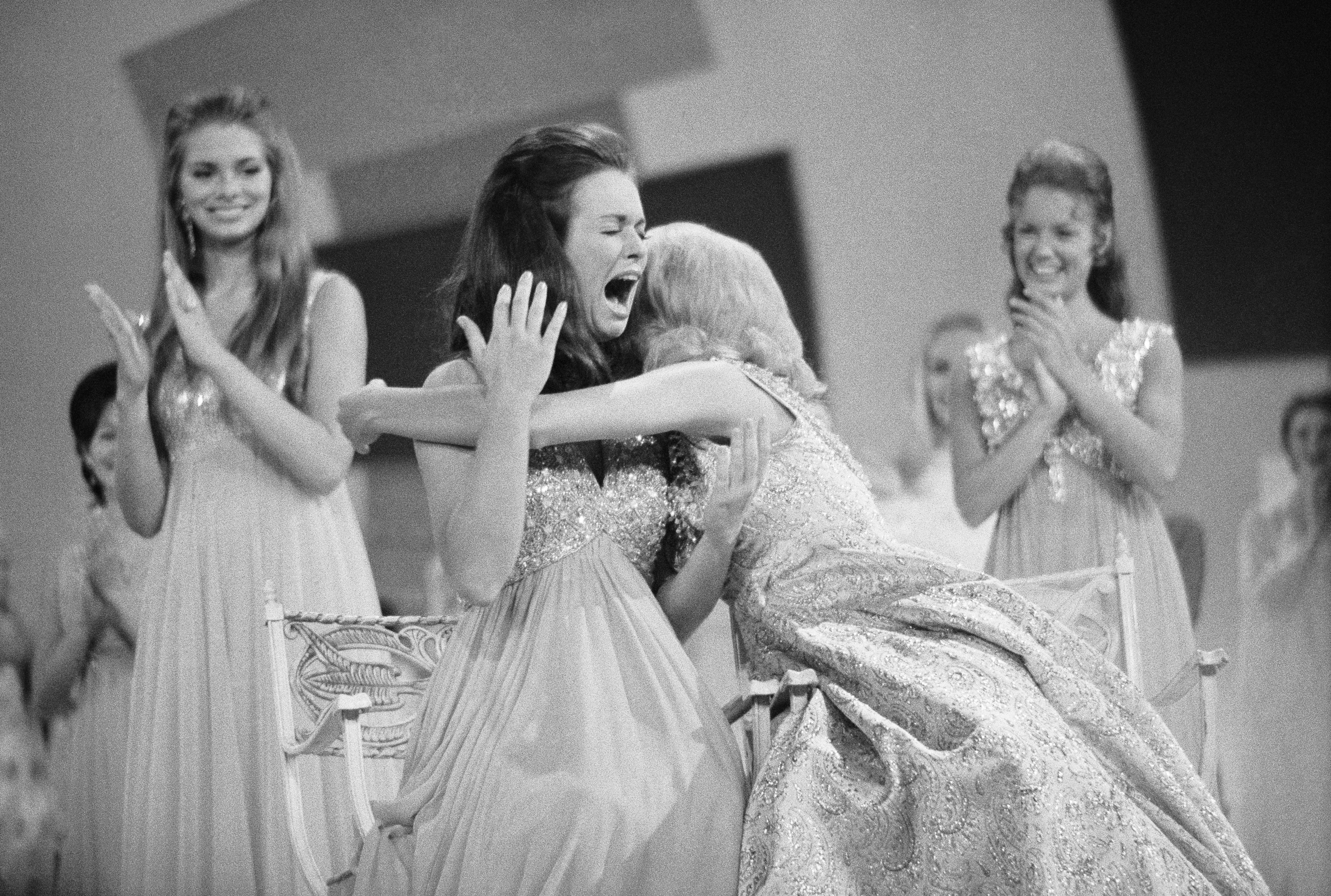 Newly-crowned Miss America, Phyllis George reacts to the announcement of her title on Sept. 12, 1970 in Atlantic City, N.J.