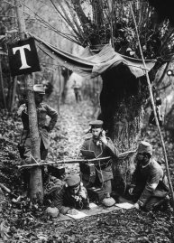 A German field telephone station in the Aisne department of northern France during World War I.