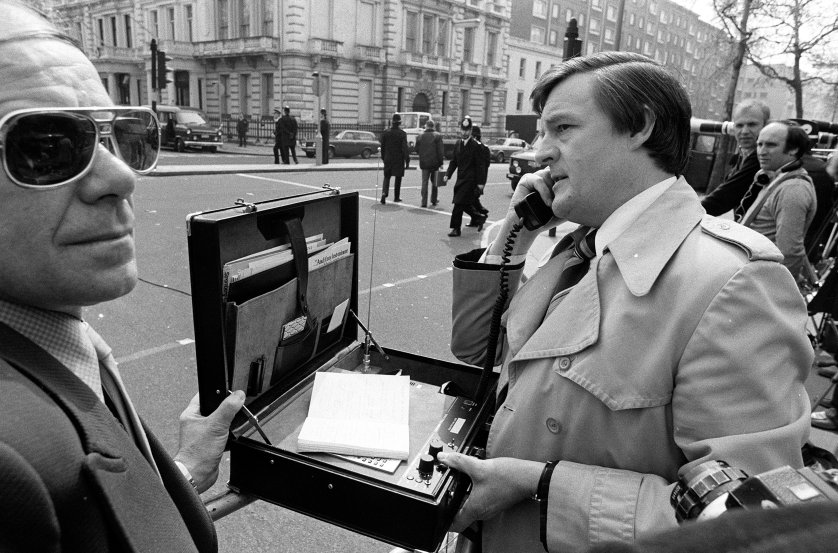 An early mobile phone during the Iranian Embassy siege at Princes Gate in South Kensington, London.