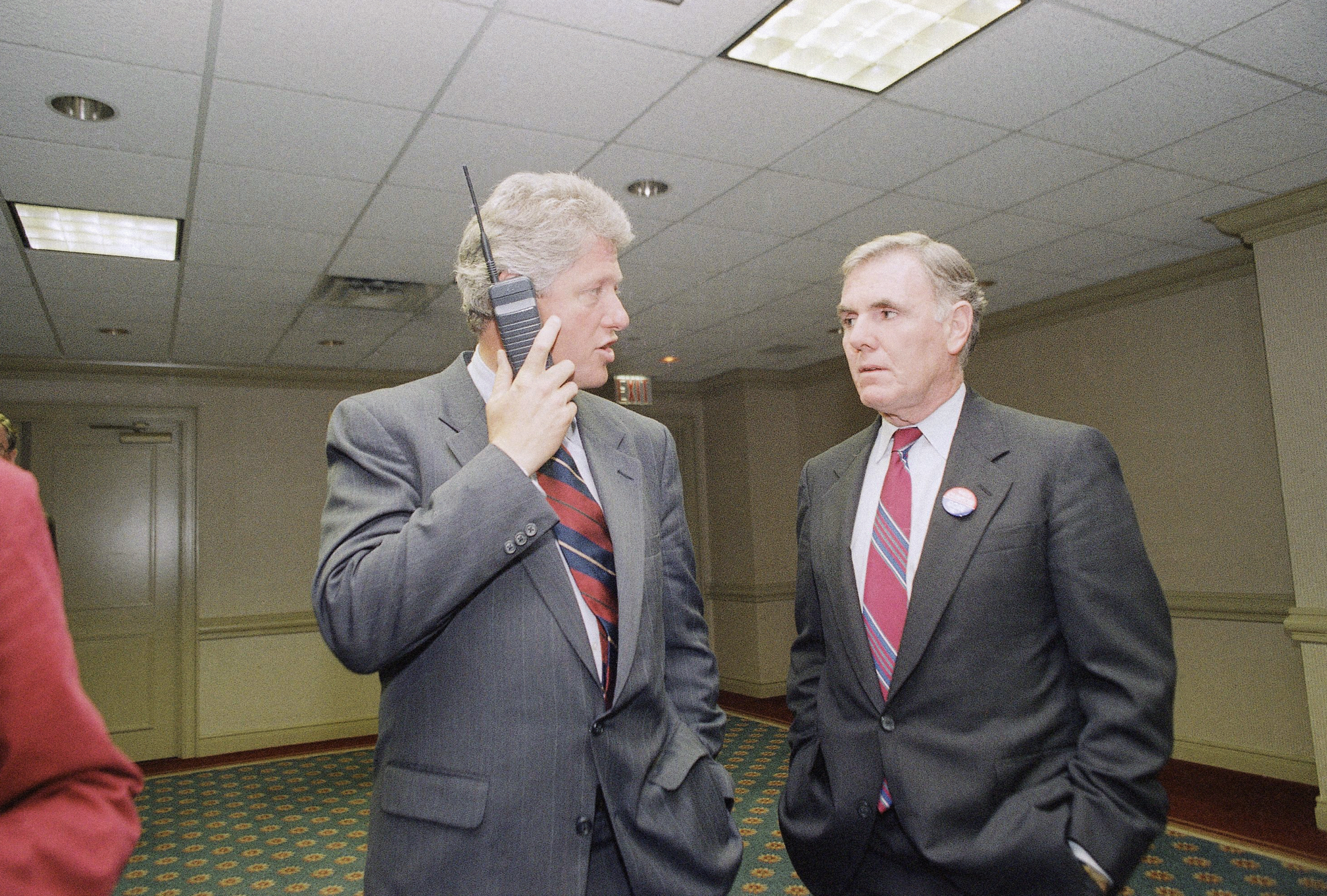 <strong>1992</strong>                                   Democratic presidential nominee Bill Clinton talks on a cell phone while meeting with Boston Mayor Ray Flynn in a New York hotel on Sept. 25.