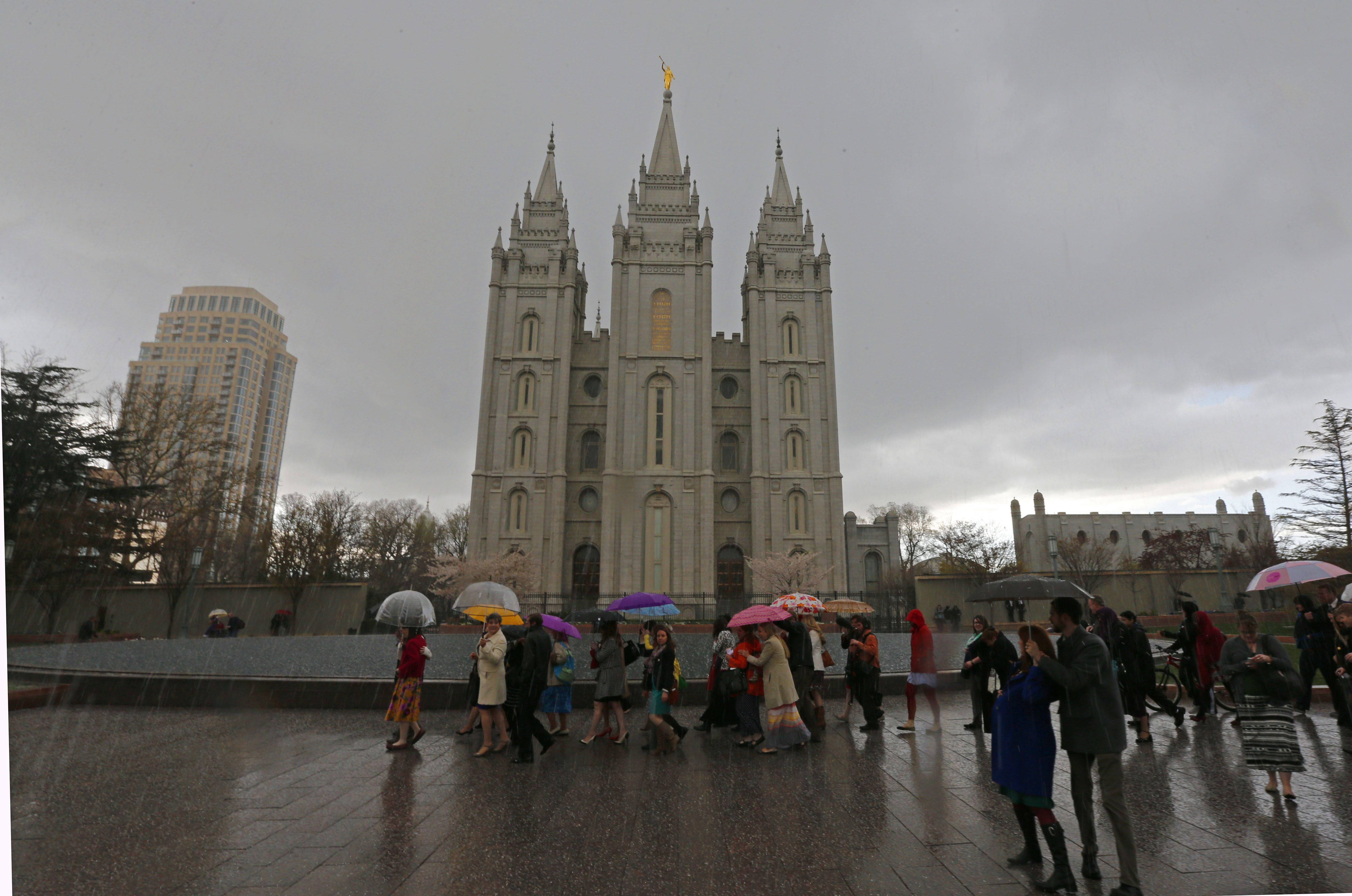 The Salt Lake Temple of the Mormon church on April 5, 2014 in Salt Lake City,