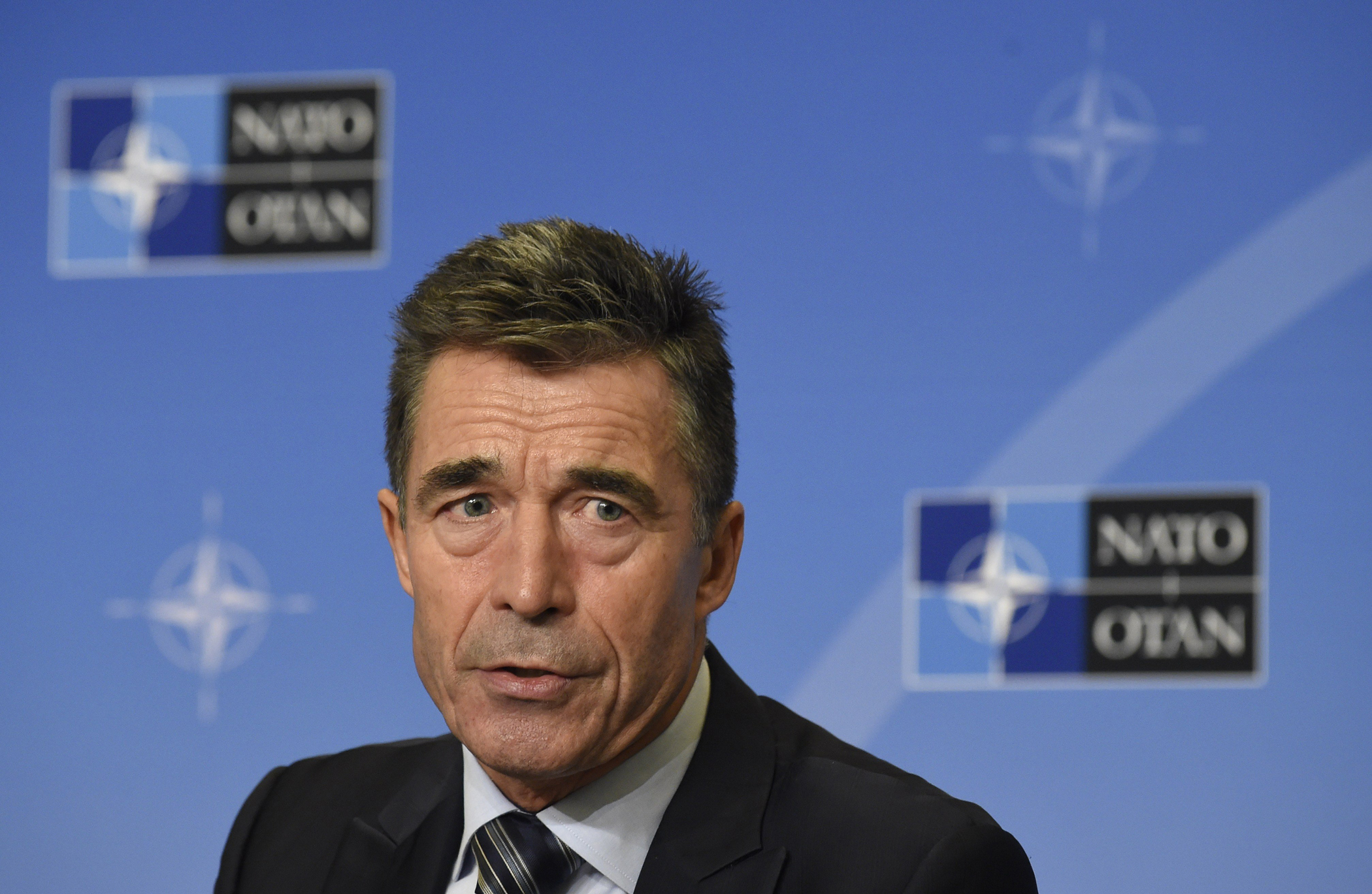 NATO Secretary General Anders Fogh Rasmussen gives a press on Sept. 1, 2014, in Brussels