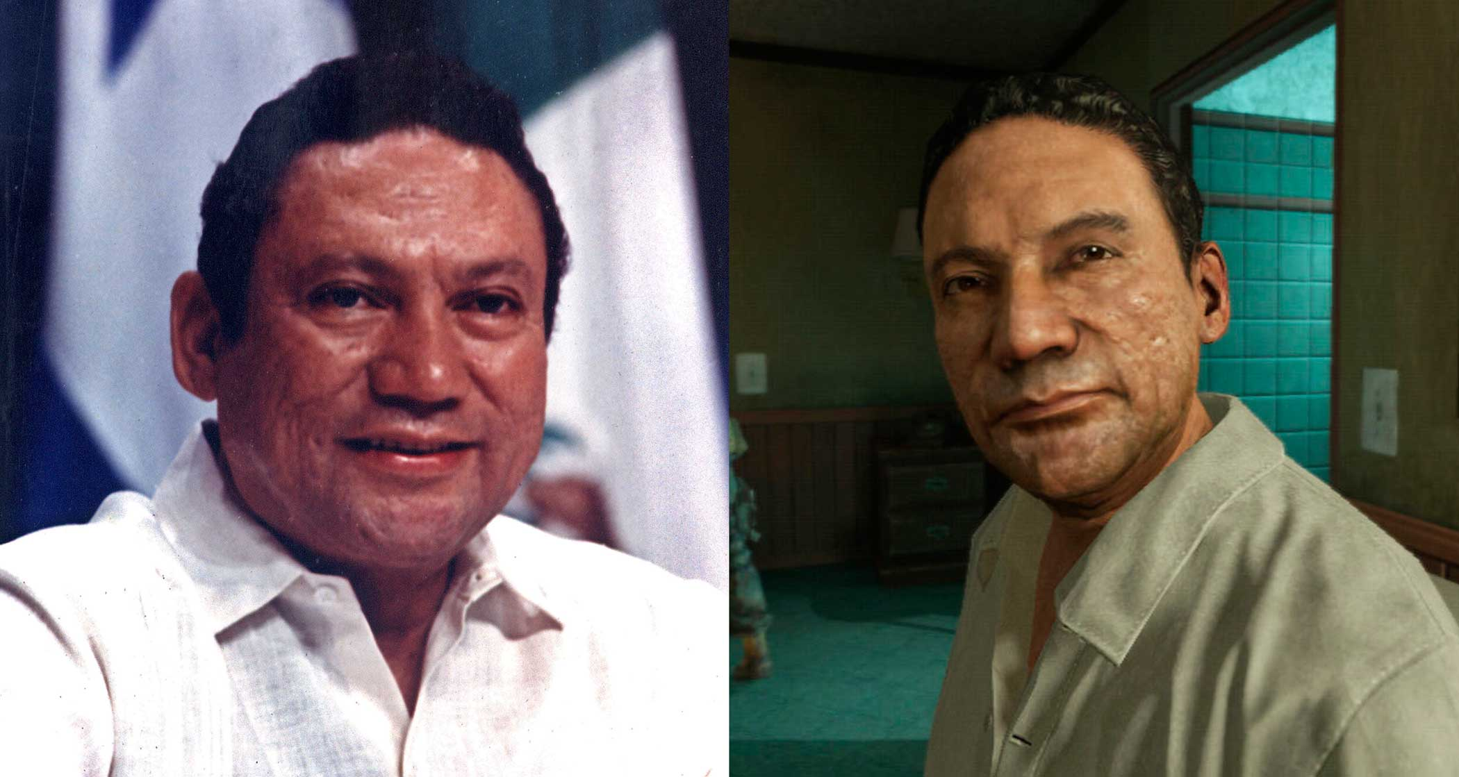 Panamanian strongman Manuel Antonio Noriega (left) sues Activision over a portrayal of him in Activision's Call of Duty: Black Ops 2 game (right)