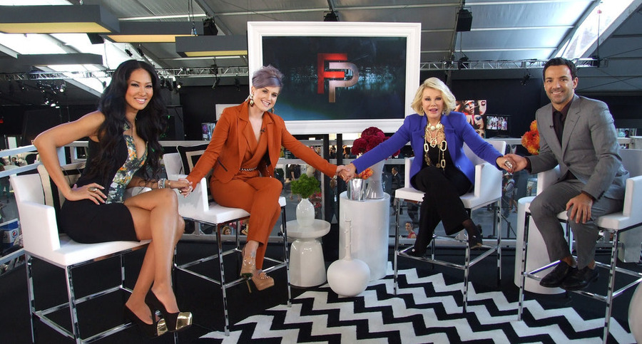 Kimora Lee Simmons, Kelly Osbourne, Joan Rivers and George Kotsioupoulos on an episode of Fashion Police