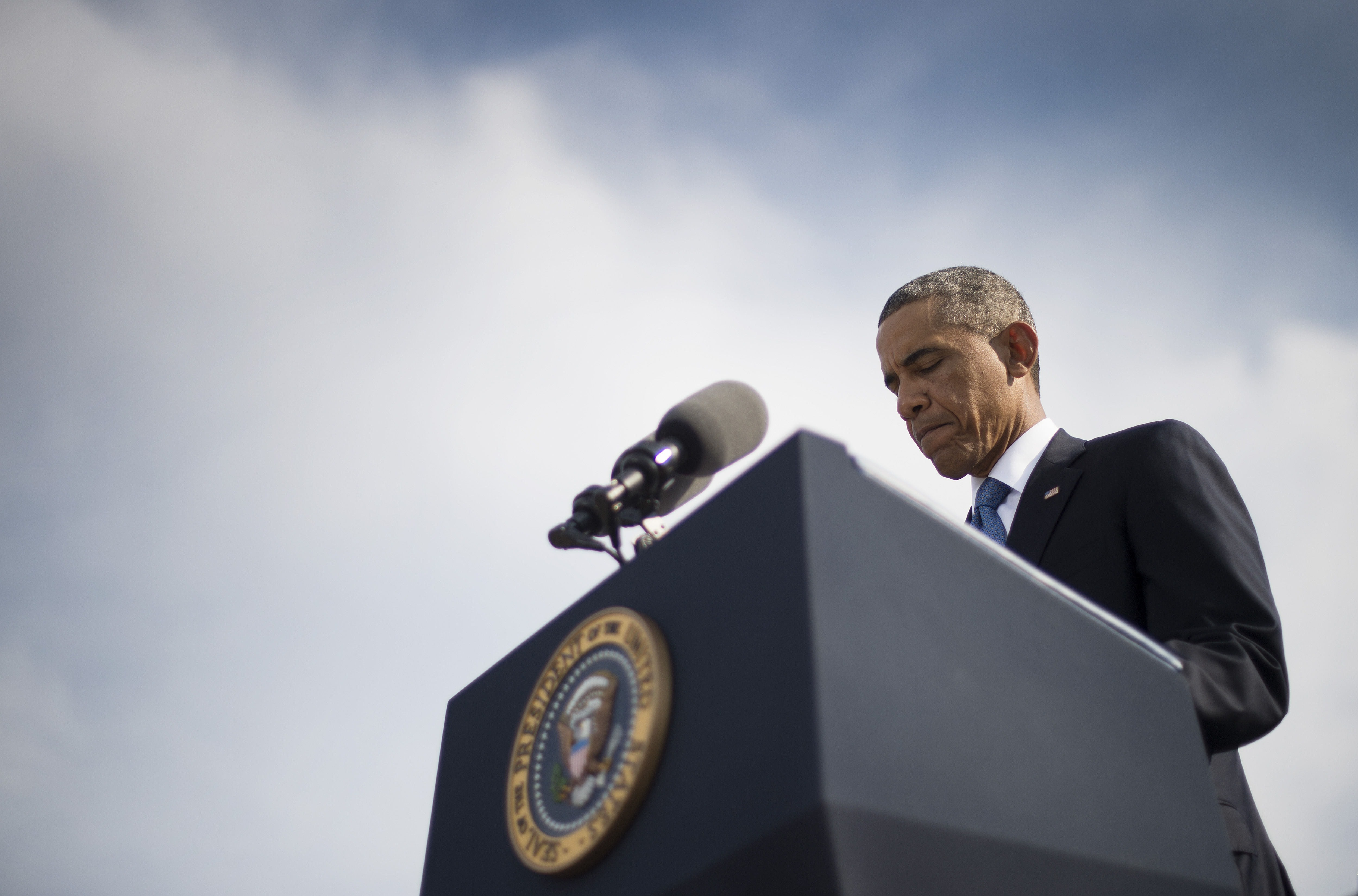 US President Barack Obama speaks at the Pentagon in Washington, DC, September 11, 2014, during a ceremony marking the 13th anniversary of the 9/11 attacks on the United States.