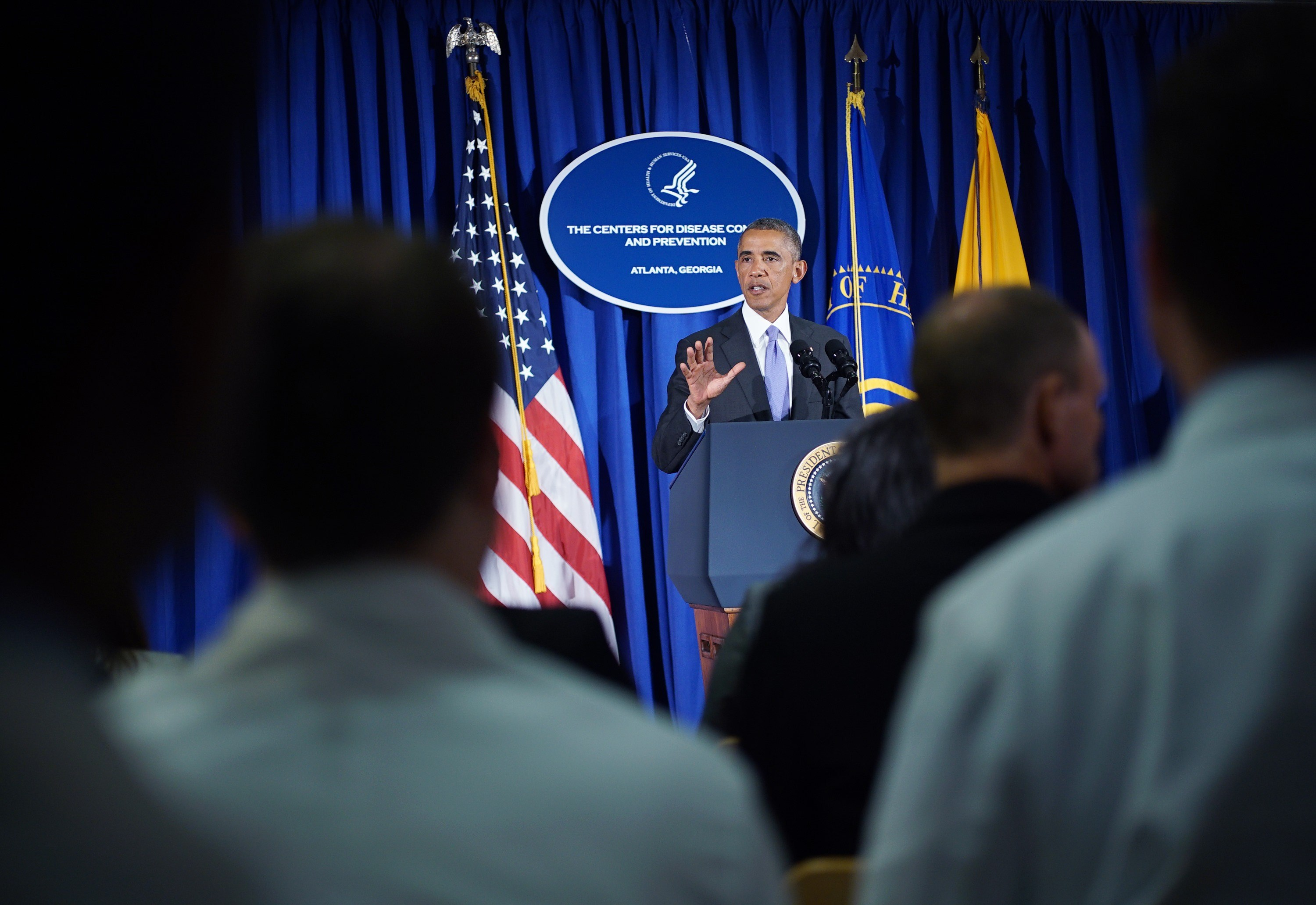 US President Barack Obama makes a statement following meetings at the Centers for Disease Control and Prevention on Sept.16, 2014 in Atlanta.