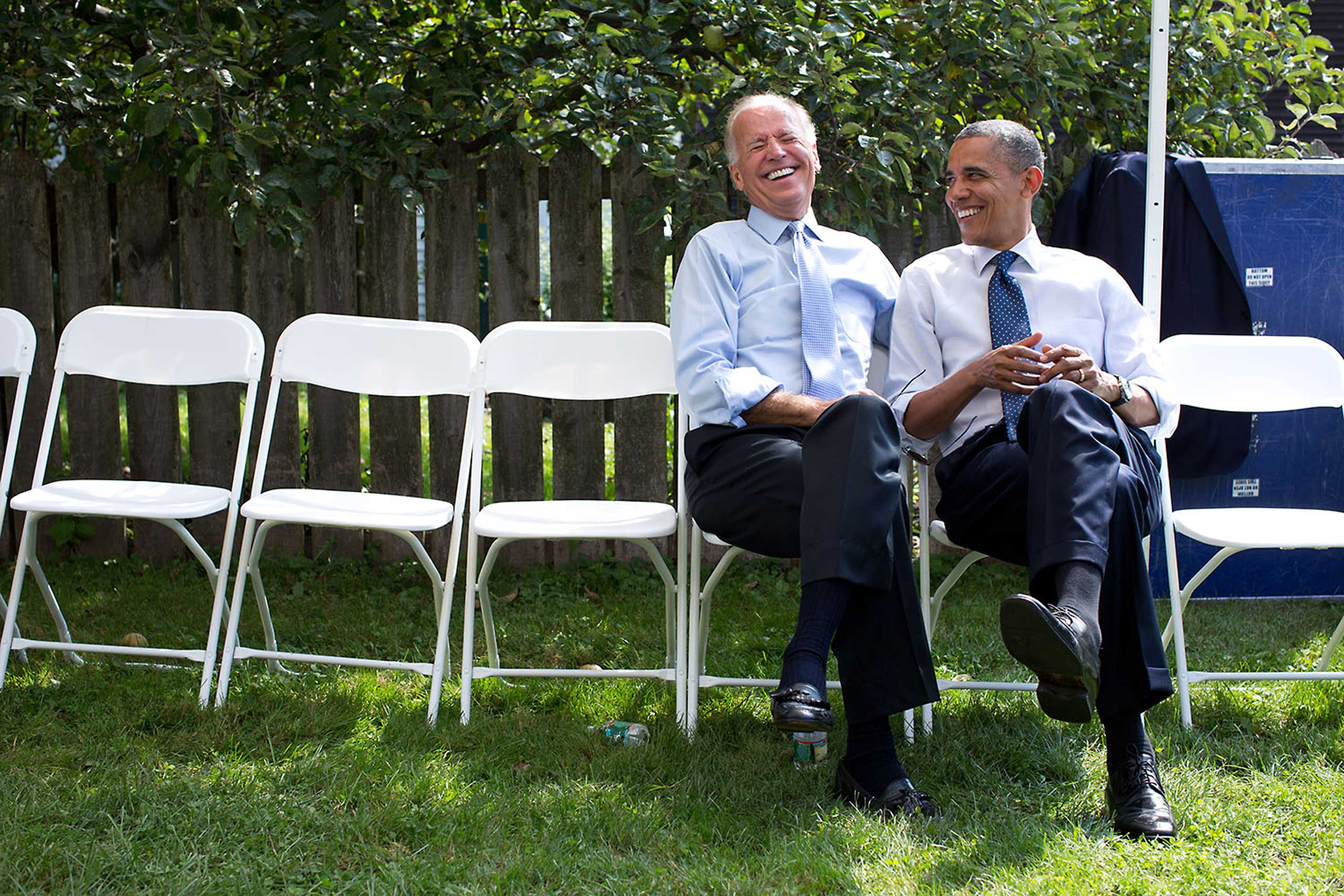 President Obama and Vice President Biden share a laugh before an event at Strawbery Banke Museum in Portsmouth, N.H., Sept. 7, 2012.