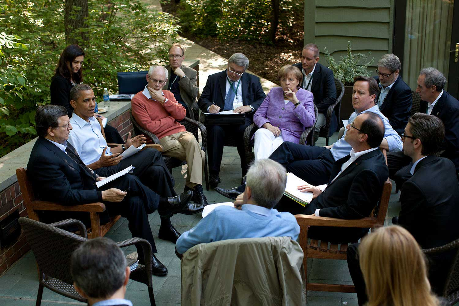 President Obama meets with European leaders on the Laurel Cabin patio during the G8 Summit at Camp David, Md., May 19, 2012.