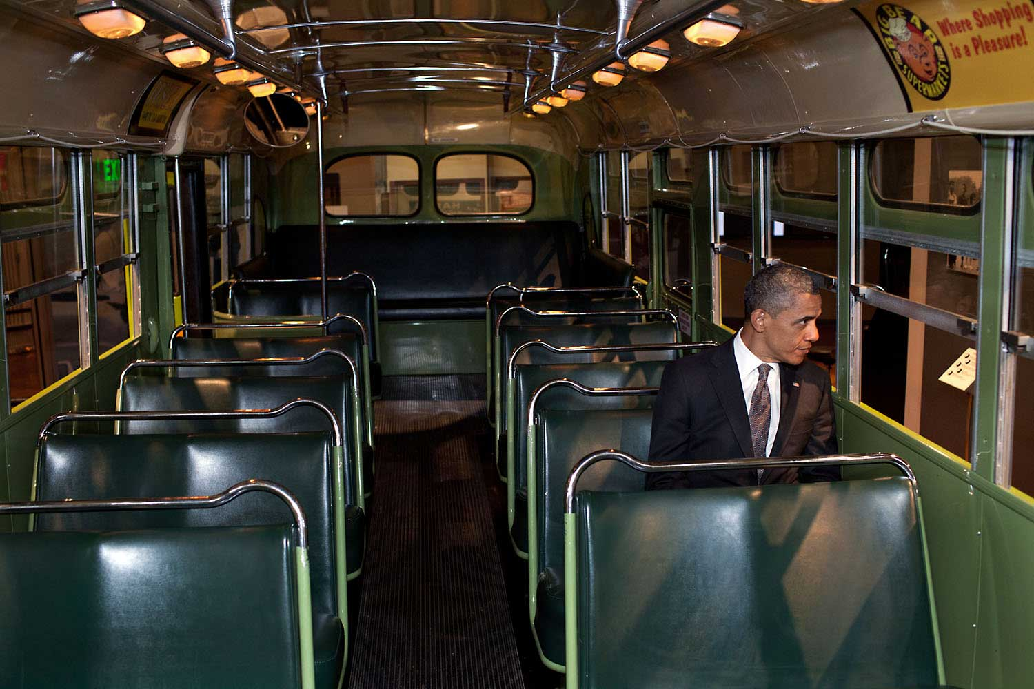 President Obama sits on the famed Rosa Parks bus at the Henry Ford Museum following an event in Dearborn, Mich., April 18, 2012.