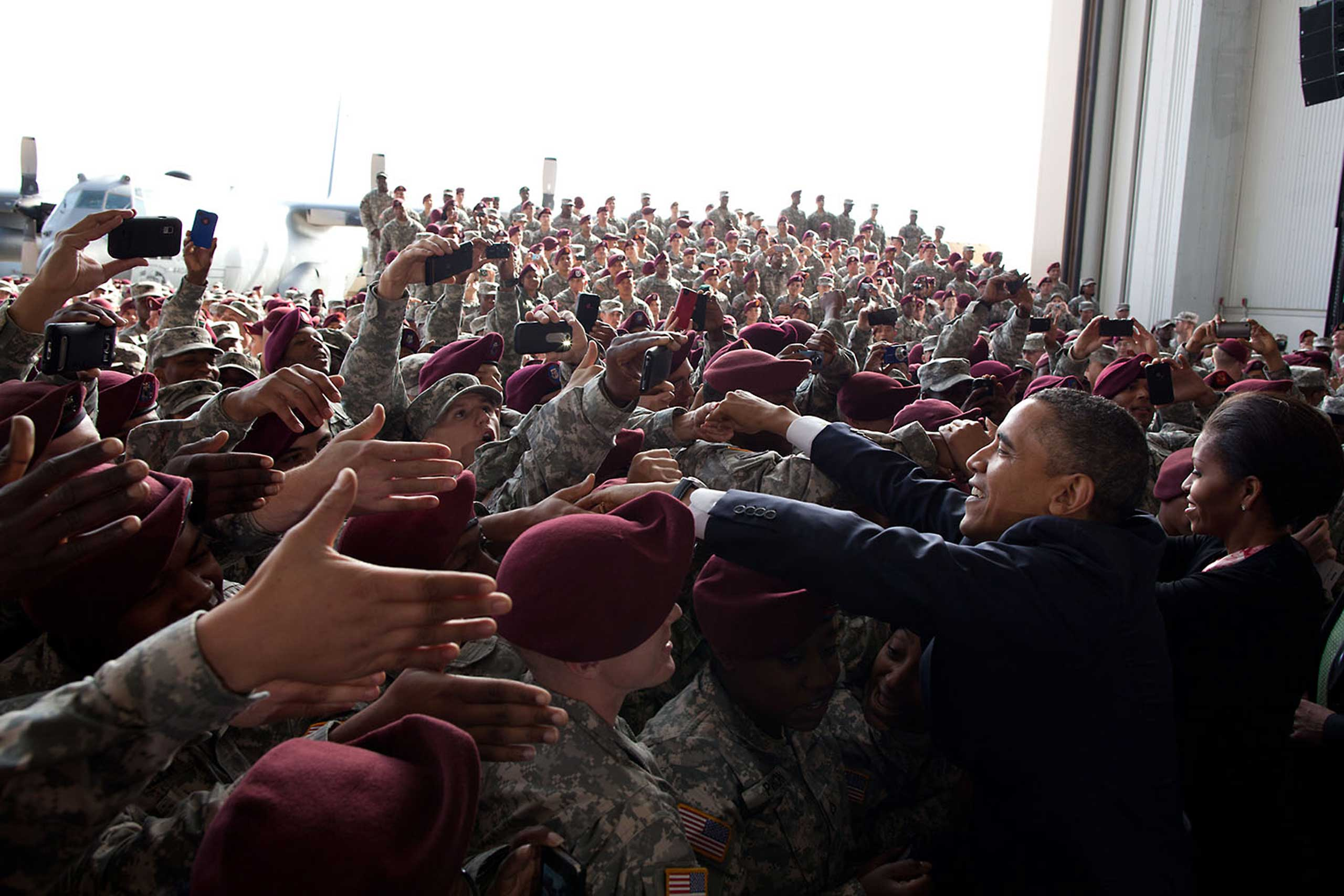 The President and First Lady greet troops following remarks to mark the end of America's war in Iraq, at Pope Army Airfield, Fort Bragg, North Carolina, Dec. 14, 2011.