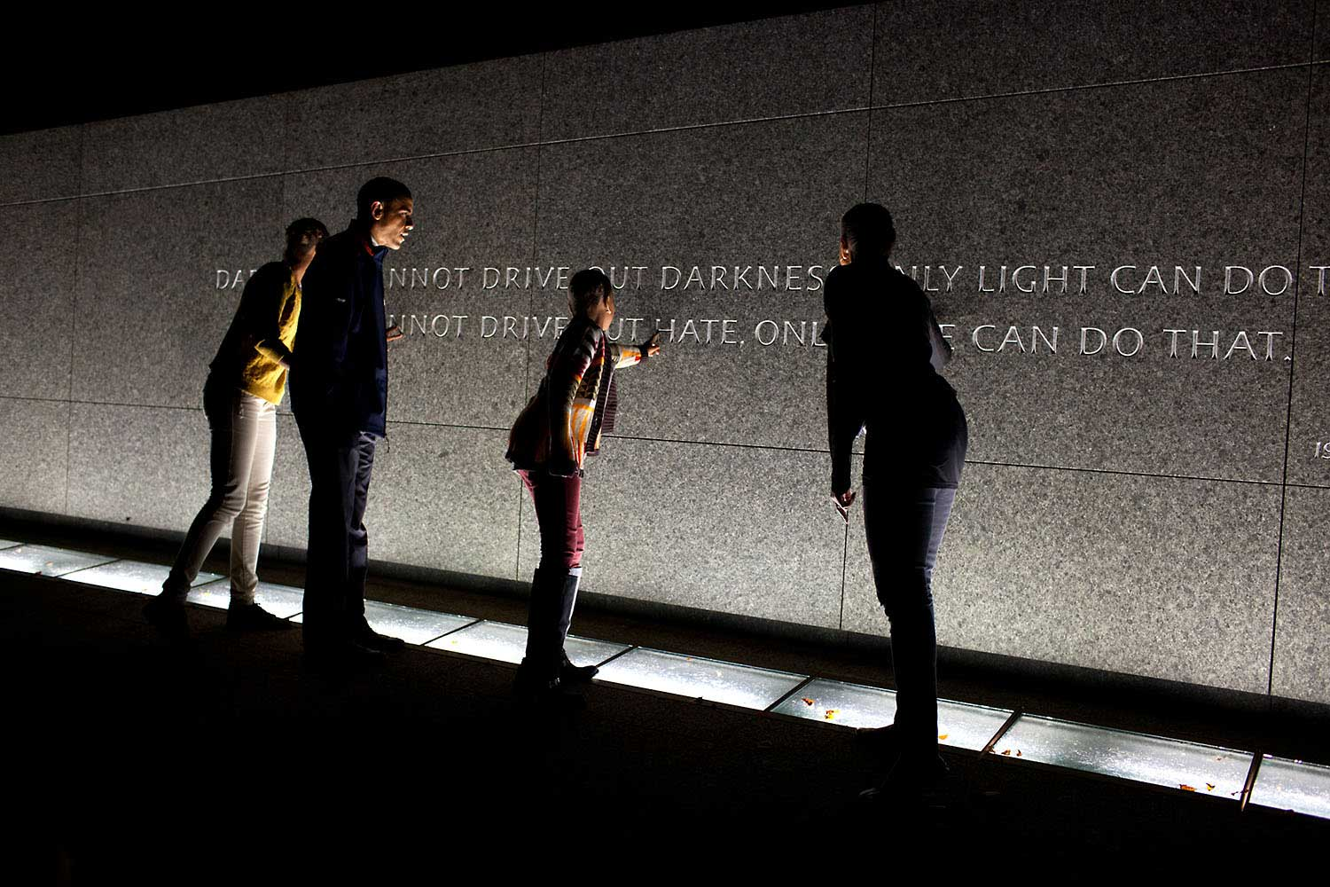 The Obama family make an unannounced visit to tour the Martin Luther King, Jr. National Memorial in Washington, D.C., Oct. 14, 2011, the night before the President made remarks at the official dedication of the memorial.