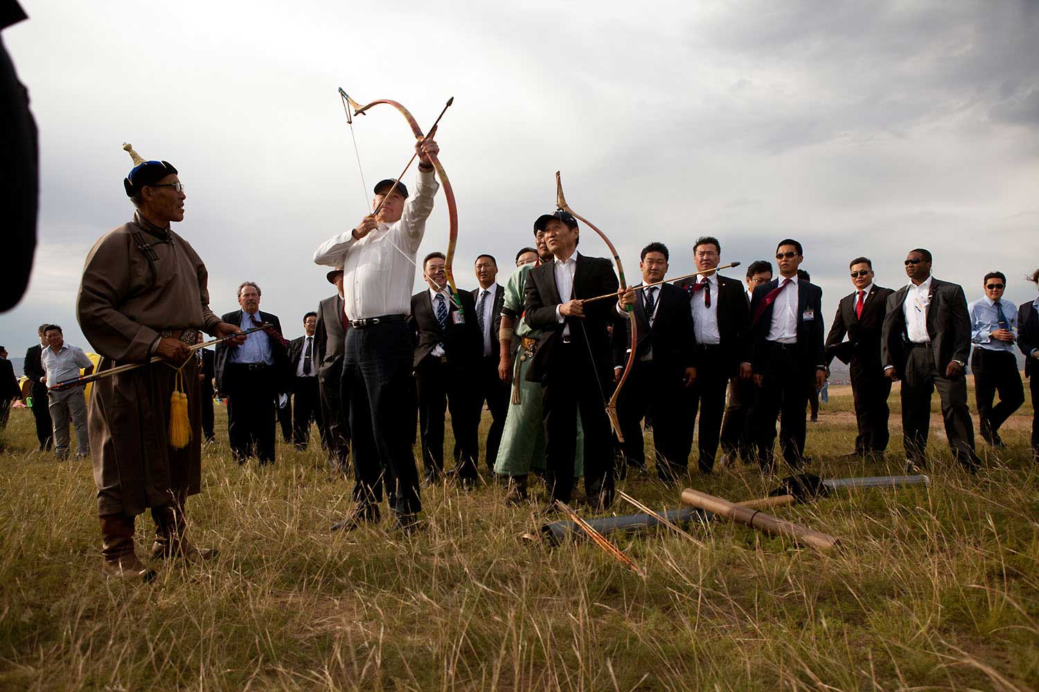David Lienemann captured this photograph as the Vice President draws his bow during the archery portion of a cultural demonstration, outside Ulaanbaatar, Mongolia, with Mongolian Prime Minister Sukhbaatar Batbold looking on, Aug. 22, 2011. I told David when I first saw this photo that I would never have been brave enough to stand that close to the line of fire.