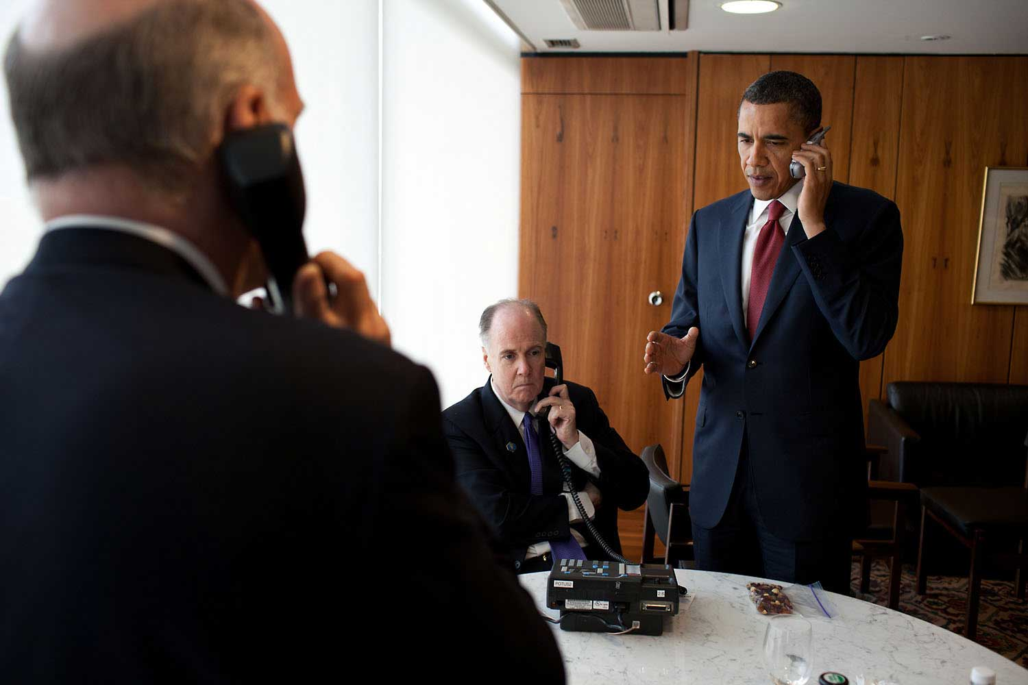 The President gives the final authorization for the armed forces of the United States to begin a limited military action in Libya in support of an international effort to protect Libyan civilians during a conference call in Brazil, March 19, 2011.