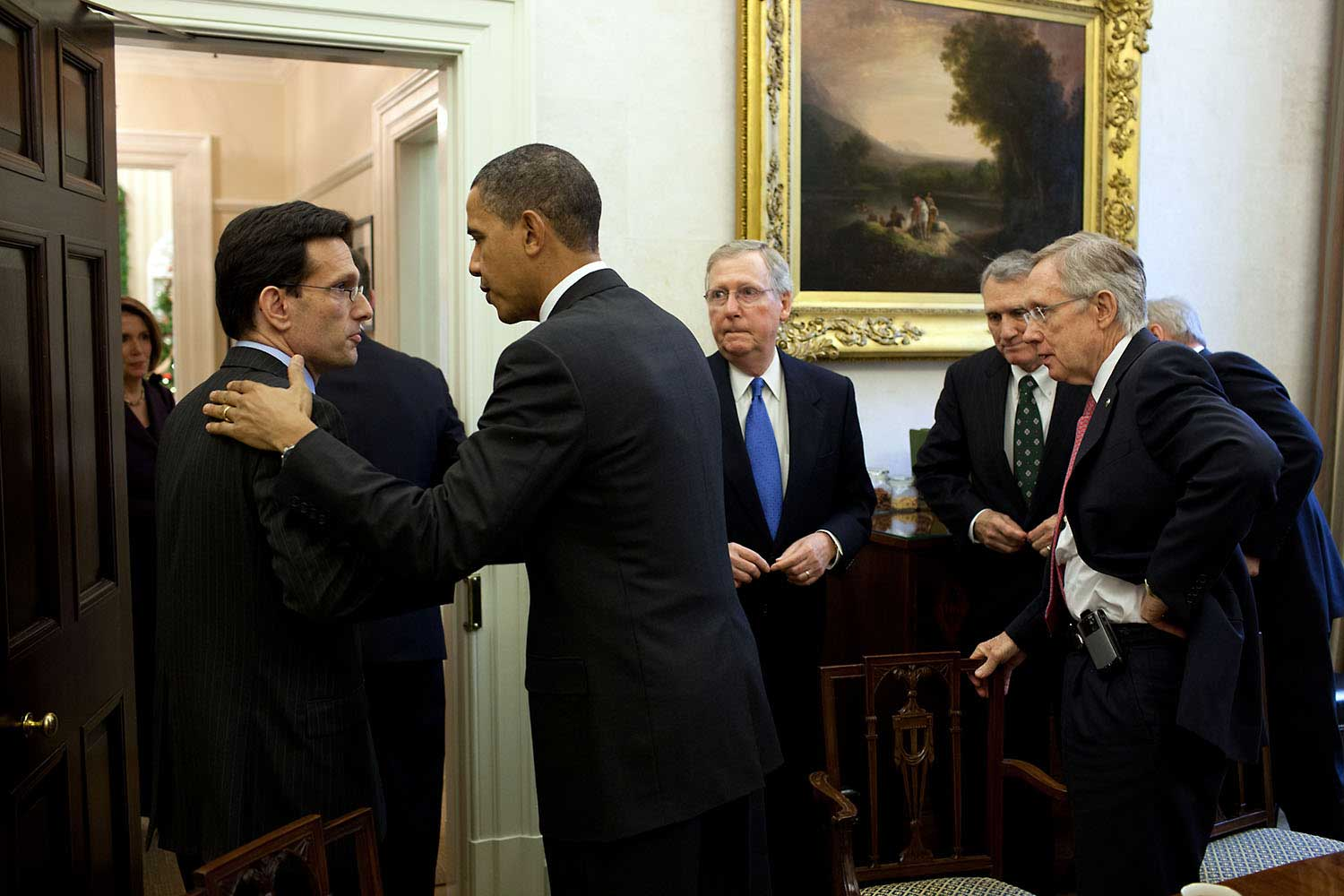 President Obama talks with Rep. Eric Cantor, the Republican Whip, after a meeting with bipartisan Congressional leadership in the Oval Office Private Dining Room, Nov. 30, 2010.