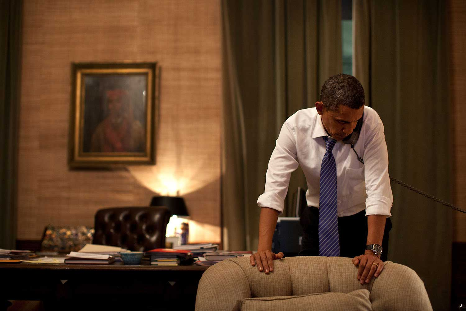 Late at night in the Treaty Room office in the White House residence, Nov. 23, 2010, the President talks on the phone with President Lee Myung-bak of South Korea after North Korea had conducted an artillery attack against the South Korean island of Yeonpyeong.