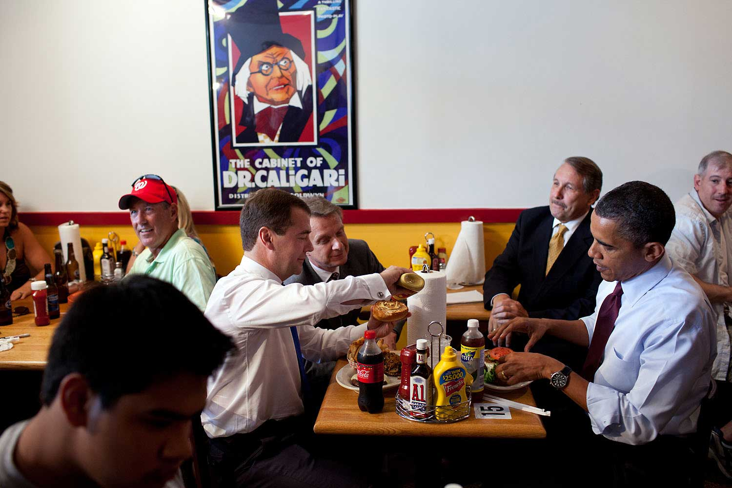 President Obama and Russian President Dmitry Medvedev talk over lunch during an unannounced trip to Ray's Hell Burger in Arlington, Va., June 24, 2010.
