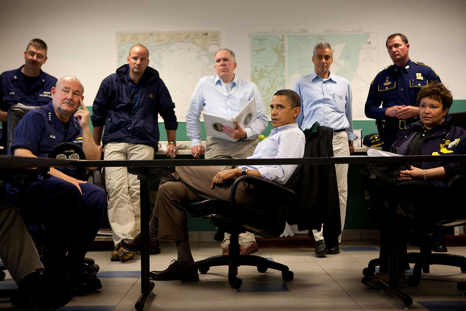 President Obama listens during a briefing about the situation along the Gulf of Mexico coast following the BP oil spill, at the Coast Guard Venice Center, in Venice, La., Sunday, May 2, 2010. Pictured, from left, are Admiral Thad Allen, U.S. Coast Guard Commandant Admiral; John Brennan, Assistant to the President for Homeland Security and Counterterrorism; Chief of Staff Rahm Emanuel; and EPA Administrator Lisa Jackson.