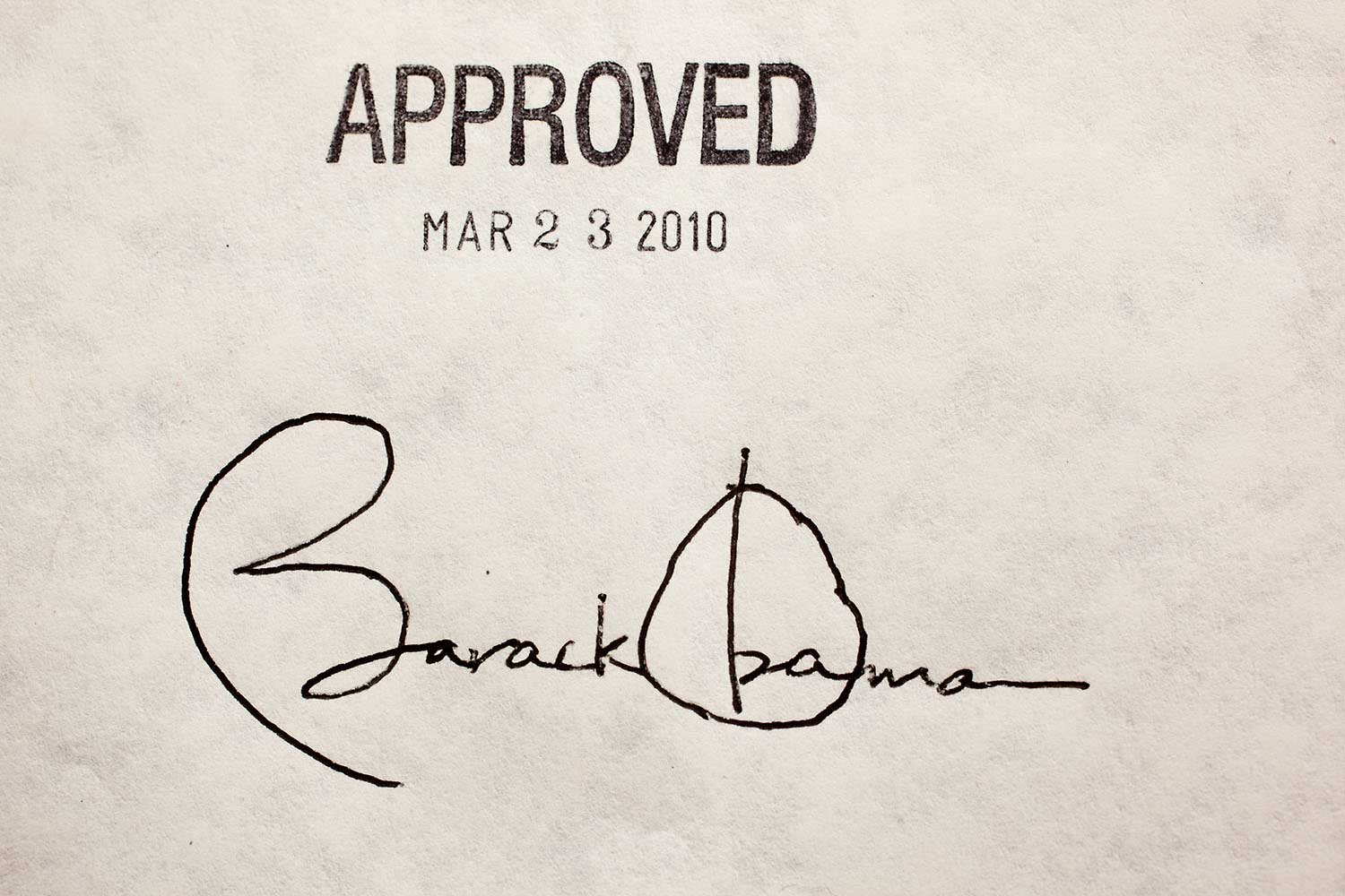 President Obama's signature on the health insurance reform bill at the White House, March 23, 2010.