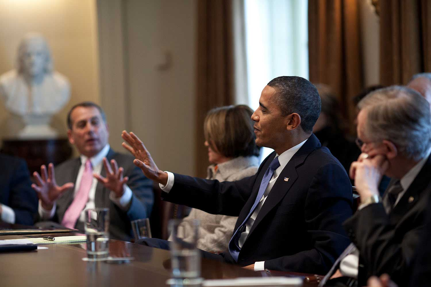 President Barack Obama engages with Rep. John Boehner, soon-to-be Speaker of the House, during a spirited bipartisan Congressional leadership meeting in the Cabinet Room of the White House, Feb. 9, 2010.