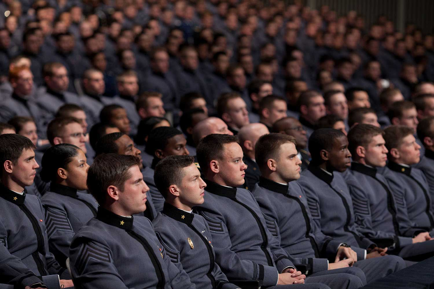 Cadets listen as President Obama delivers his Afghanistan strategy speech at West Point, N.Y., Dec. 1, 2009.