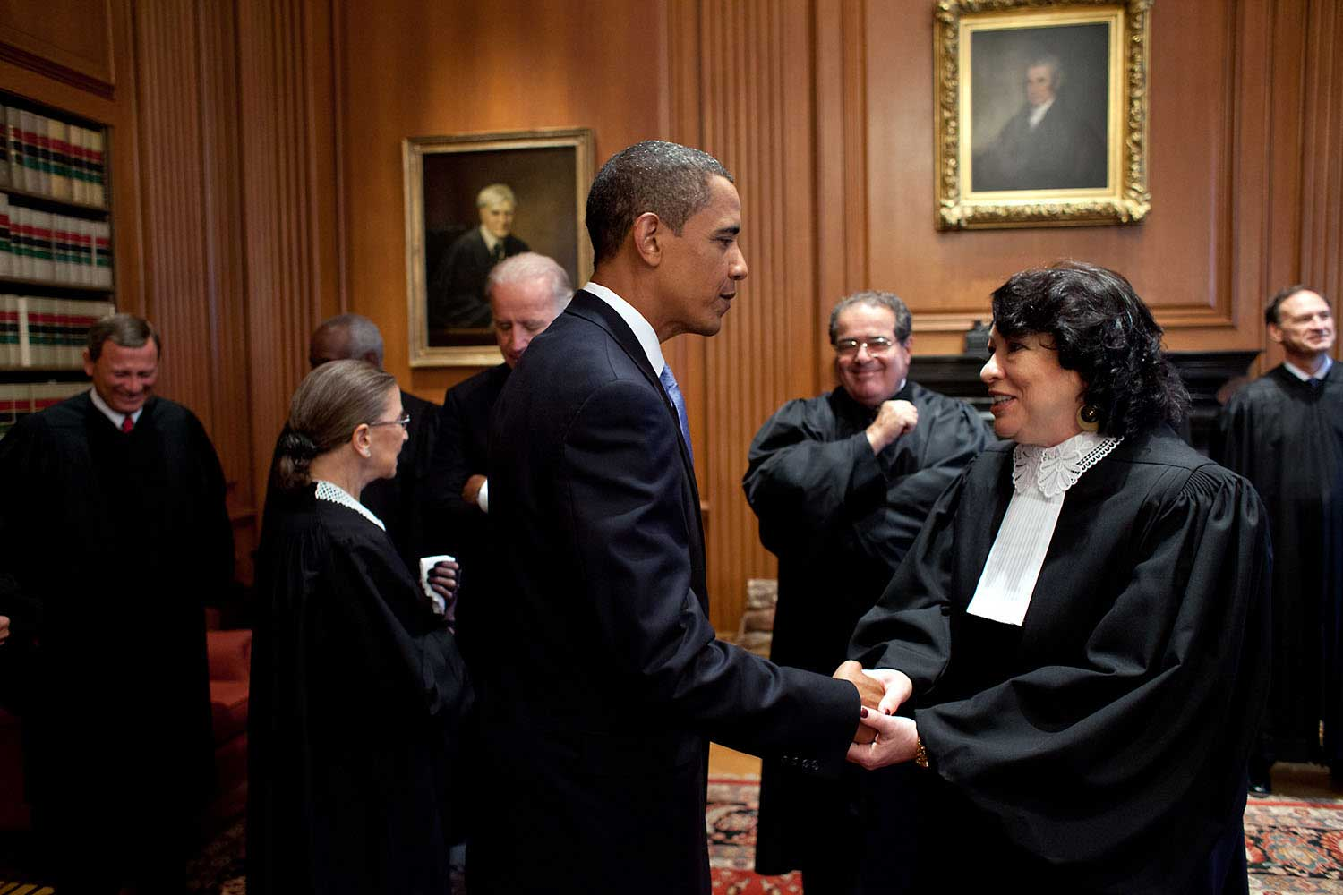 President Obama greets Sonia Sotomayor prior to her Investiture as an Associate Justice at the U.S. Supreme Court, Sept. 8, 2009.