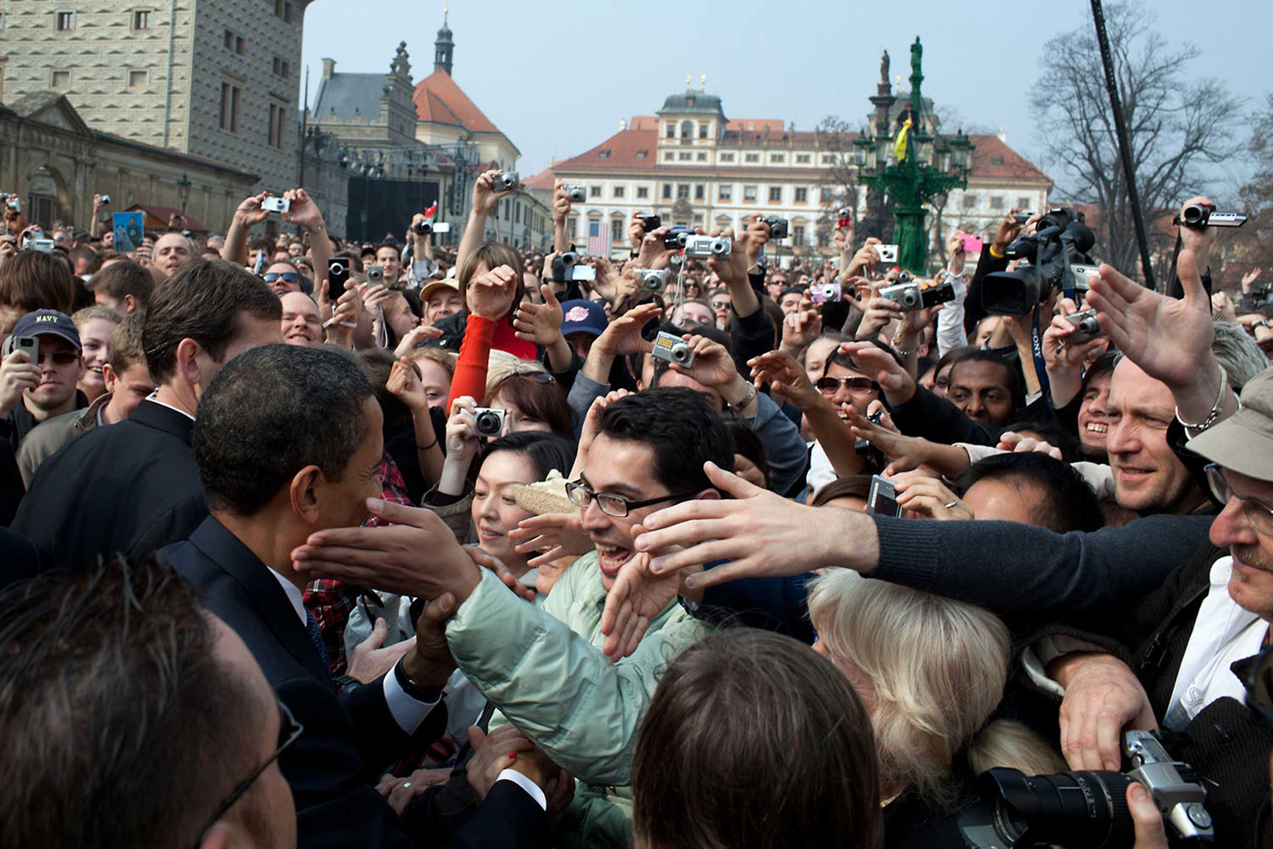 President Barack Obama is greeted by a large crowd following his Prague speech in Hradcany Square, April 5, 2009.