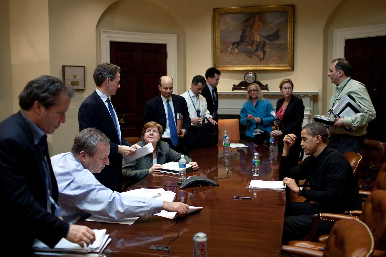 On a Saturday, the President meets with his economic advisors in the Roosevelt Room of the White House, March 15, 2009.